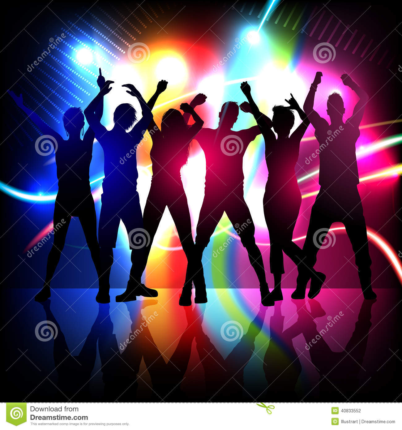 silhouettes of party people dancing stock vector