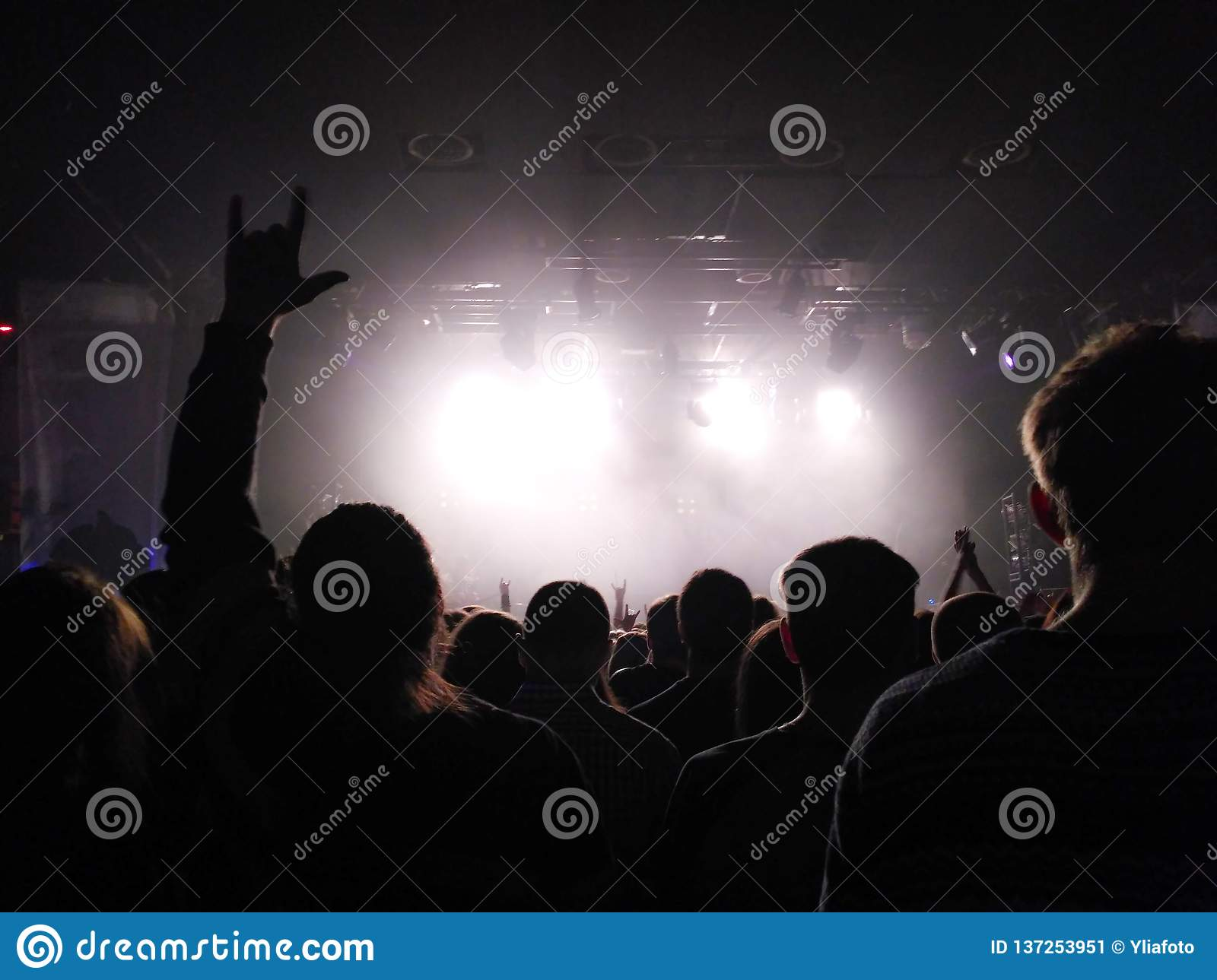 Silhouettes of people at a concert. Pop concert. Rock group. The guy does a goat by hands. Bright light on the stage