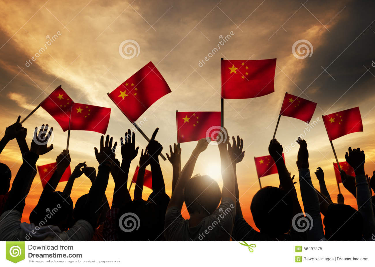 silhouettes of people holding the flag of china stock photo