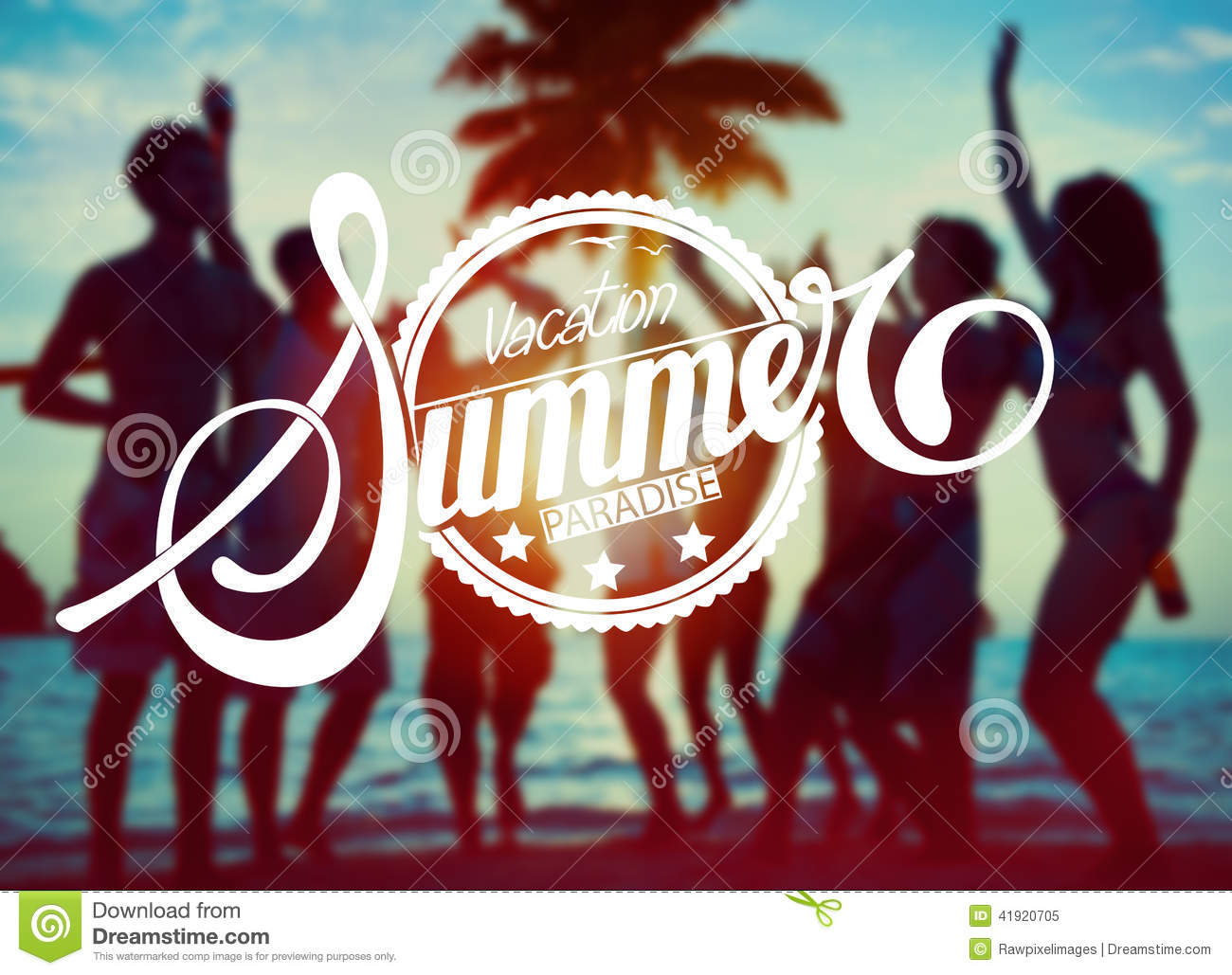 Silhouettes of People Partying : Vacation Summer Paradise