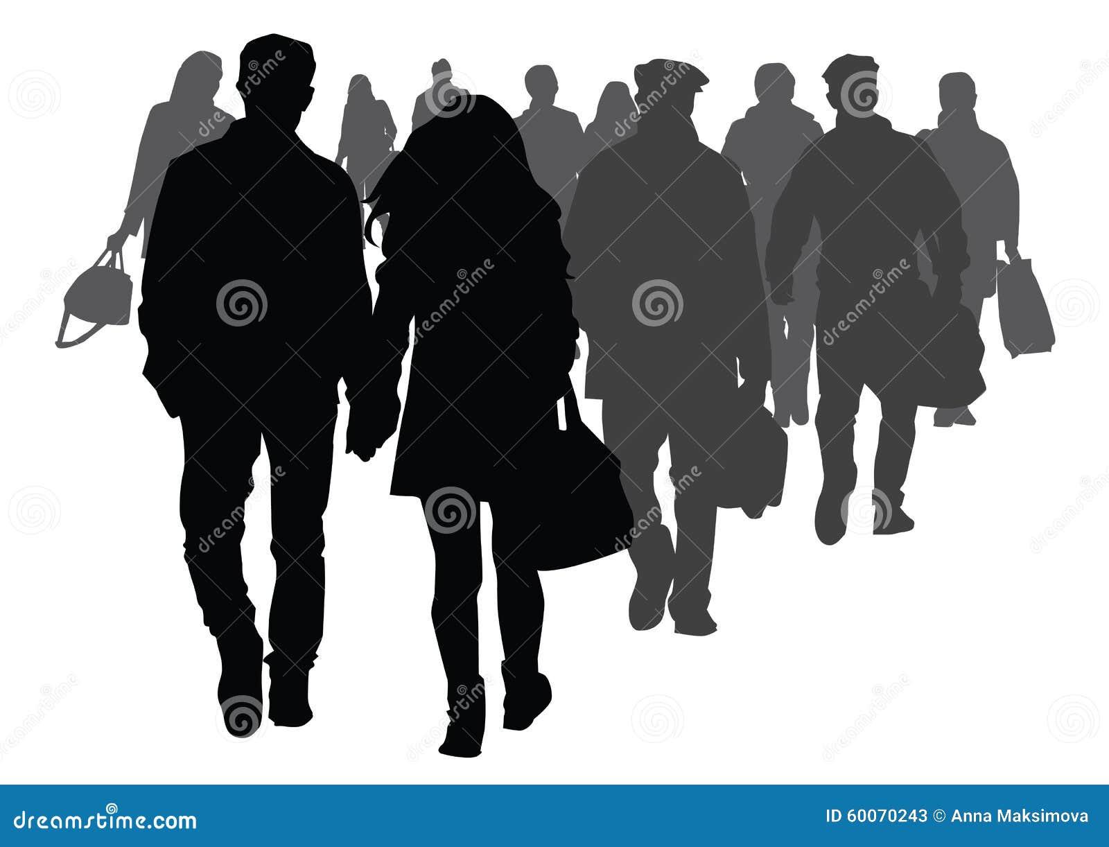 Silhouette Of People Walking On Street