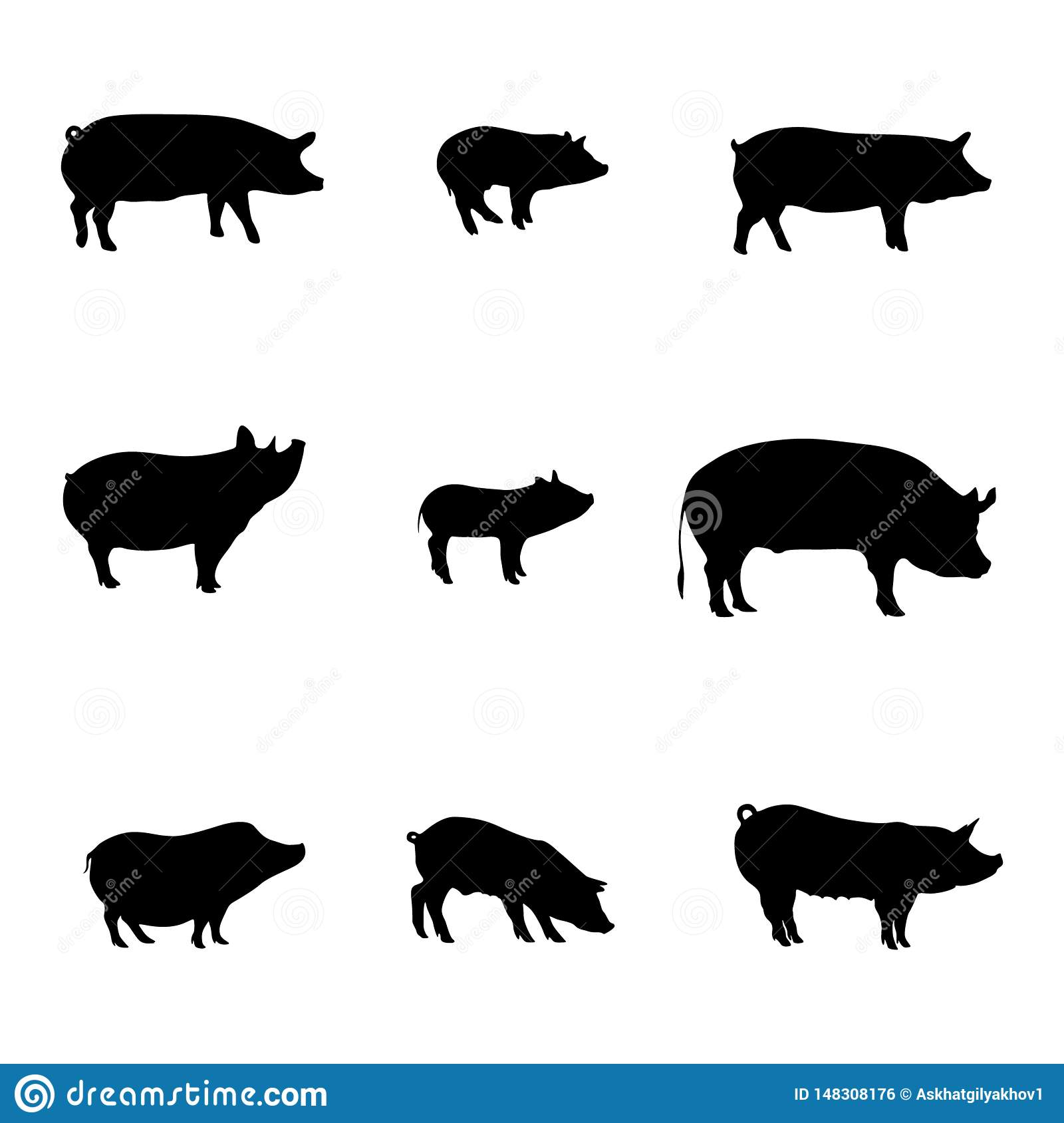 Silhouettes of Pigs. Happy New Year. Meat shop. Vector