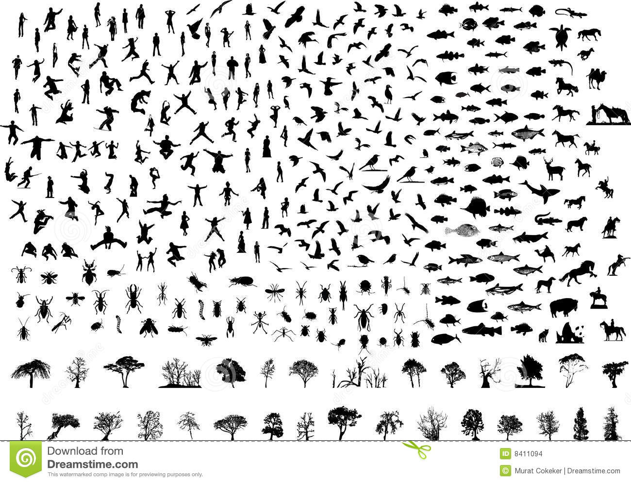 Silhouettes Set 93 Birds 73 Fishs 69 People 48 Ins Stock