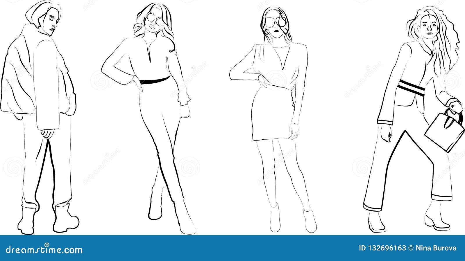 Silhouettes of slender girls