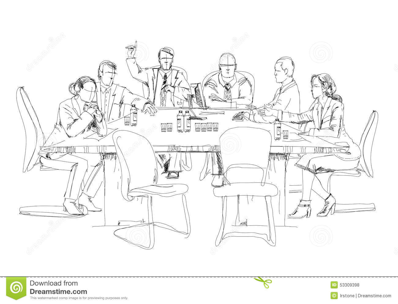 Silhouettes Of Successful Business People Working On Meeting. Sketch Stock Illustration - Image ...