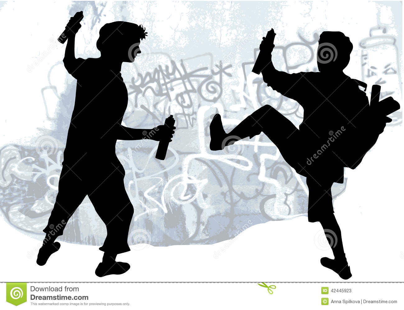 Silhouettes Of Taggers Drawing Graffiti Stock Vector - Image: 42445923