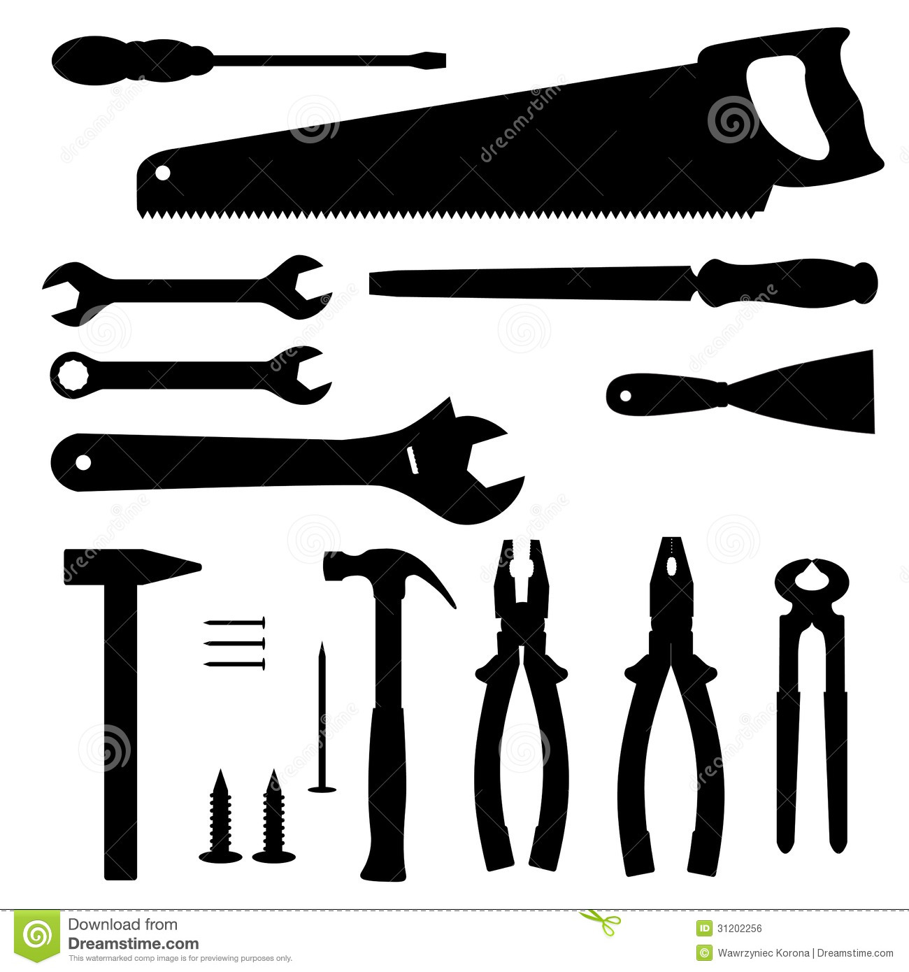 Silhouettes Of Tools Royalty Free Stock Image - Image ...