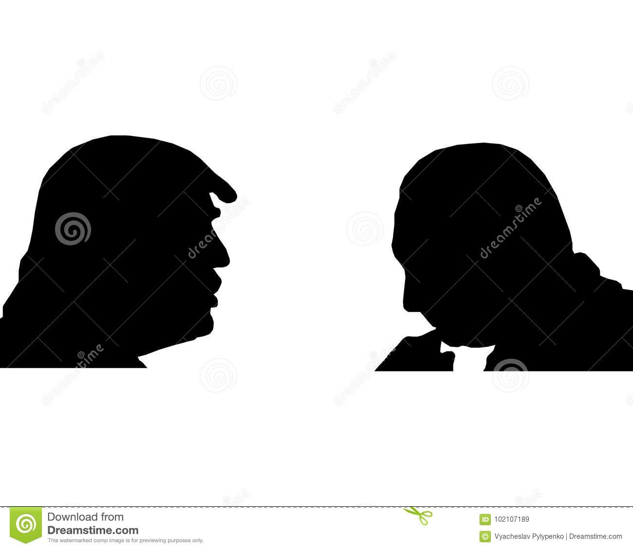 Silhouettes of Trump and Putin