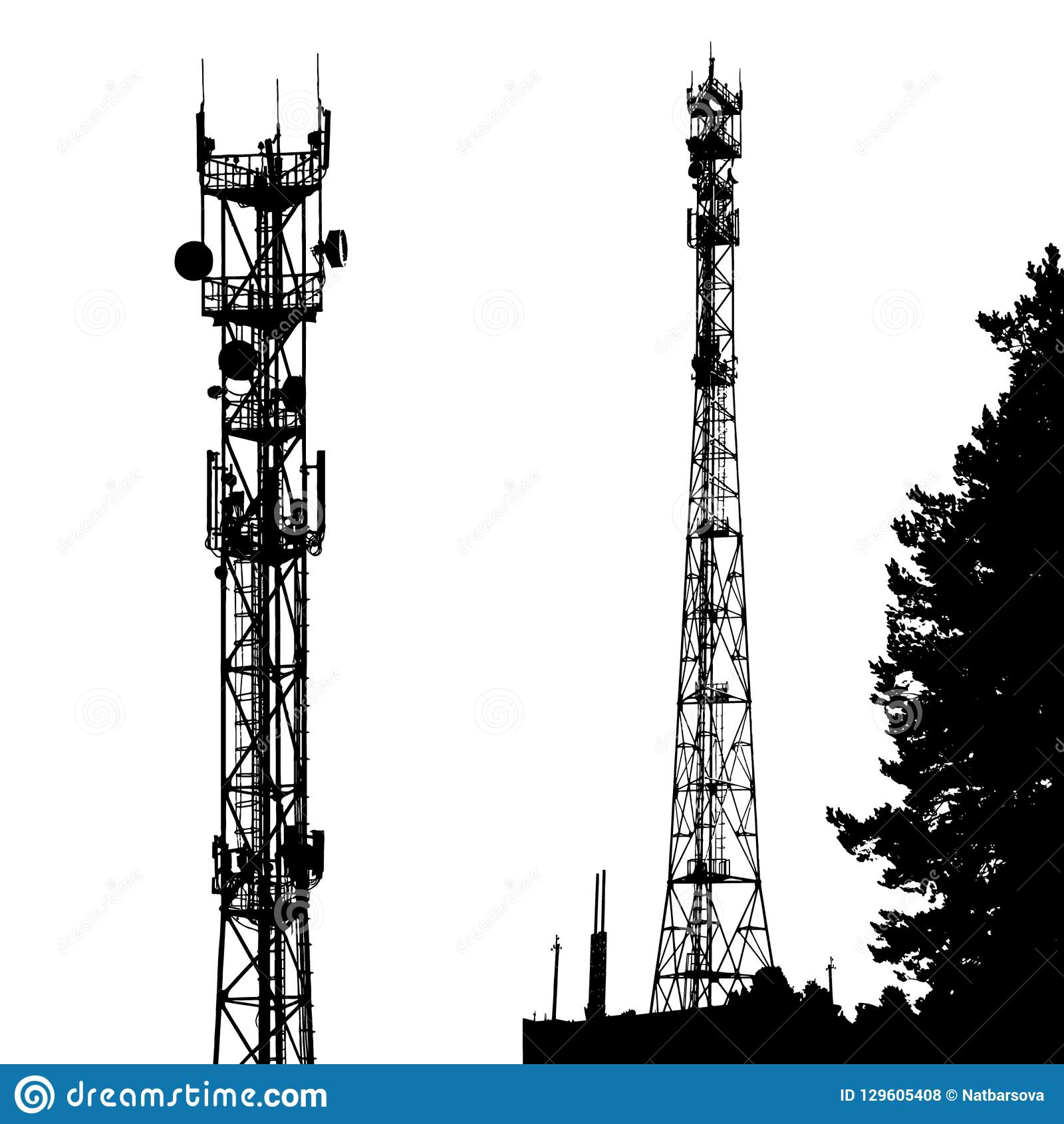 black silhouette of cell phone tower isolated on white background. vector  eps10 stock vector - illustration of background, cell: 129605408  dreamstime.com