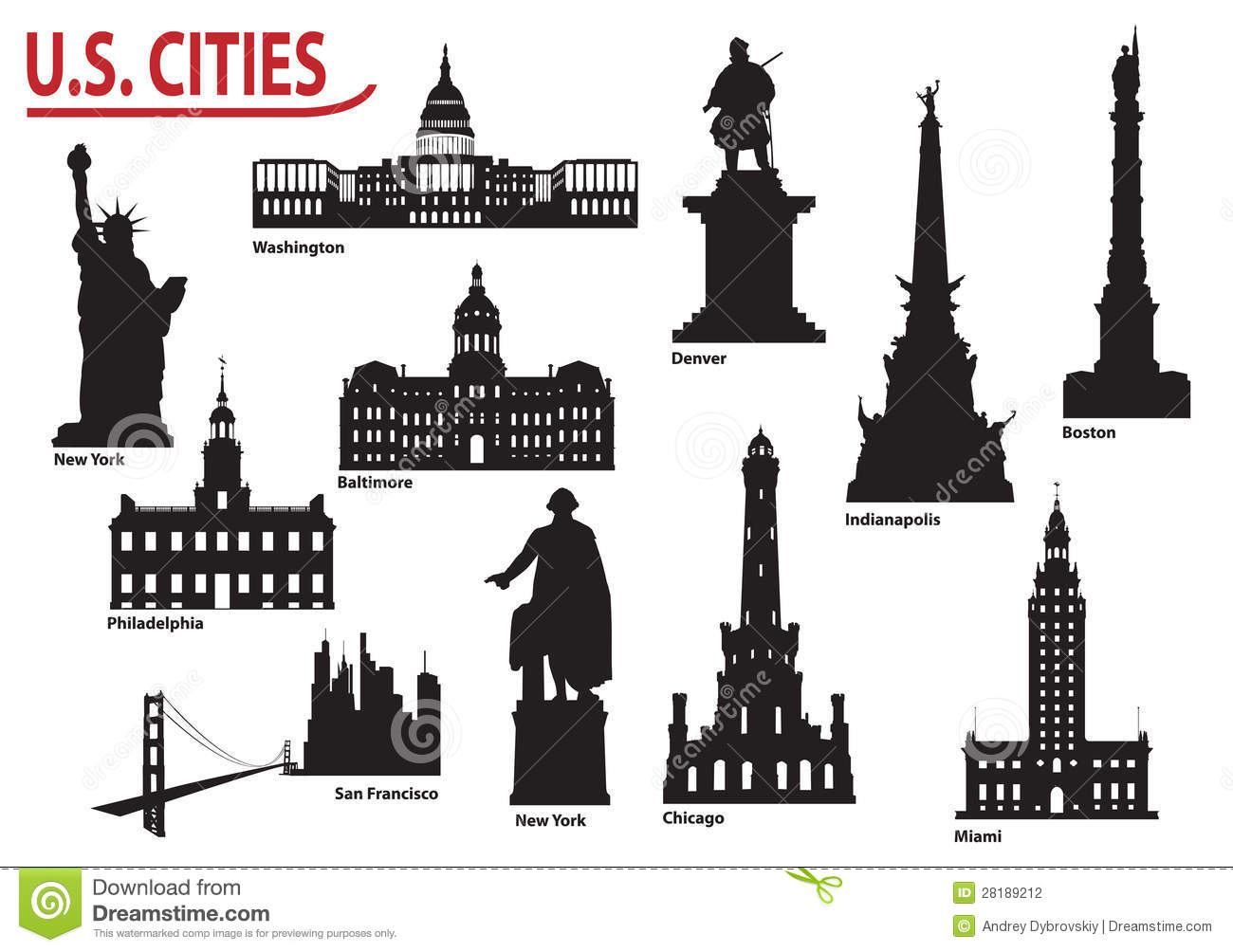Silhouettes Of U S Cities Stock Vector Image Of Culture