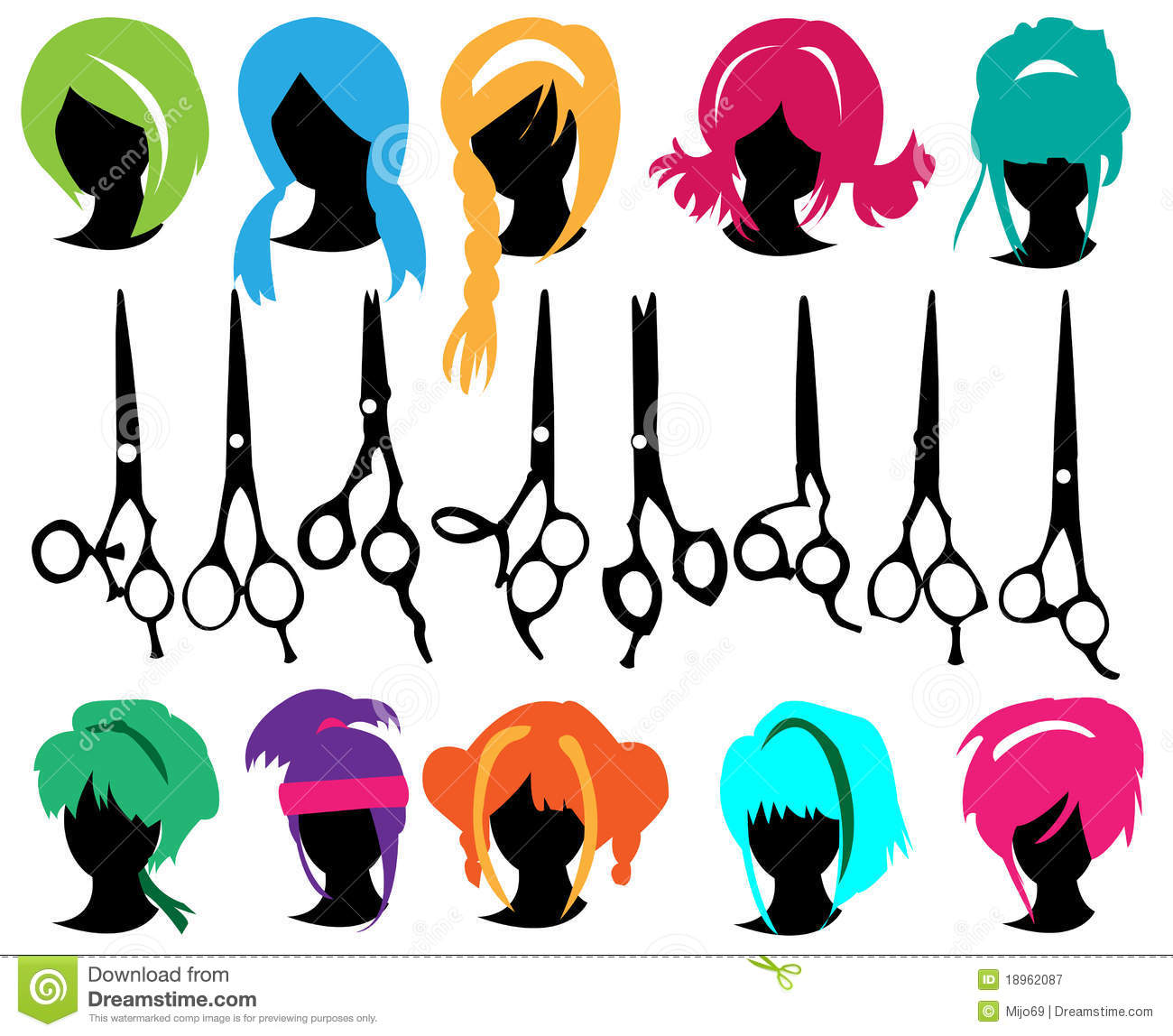 Silhouettes Wig Set Royalty Free Stock Photography Image