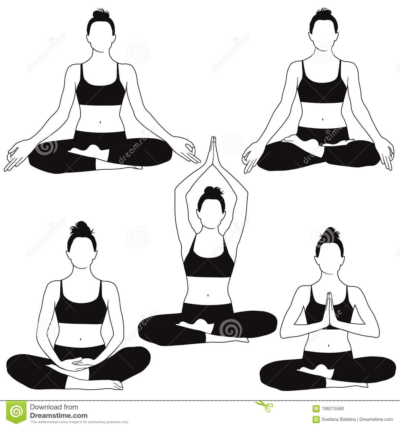 Silhouettes Of Woman Sitting In Meditation Yoga Pose Stock Vector Illustration Of Illustration Practice 106215580