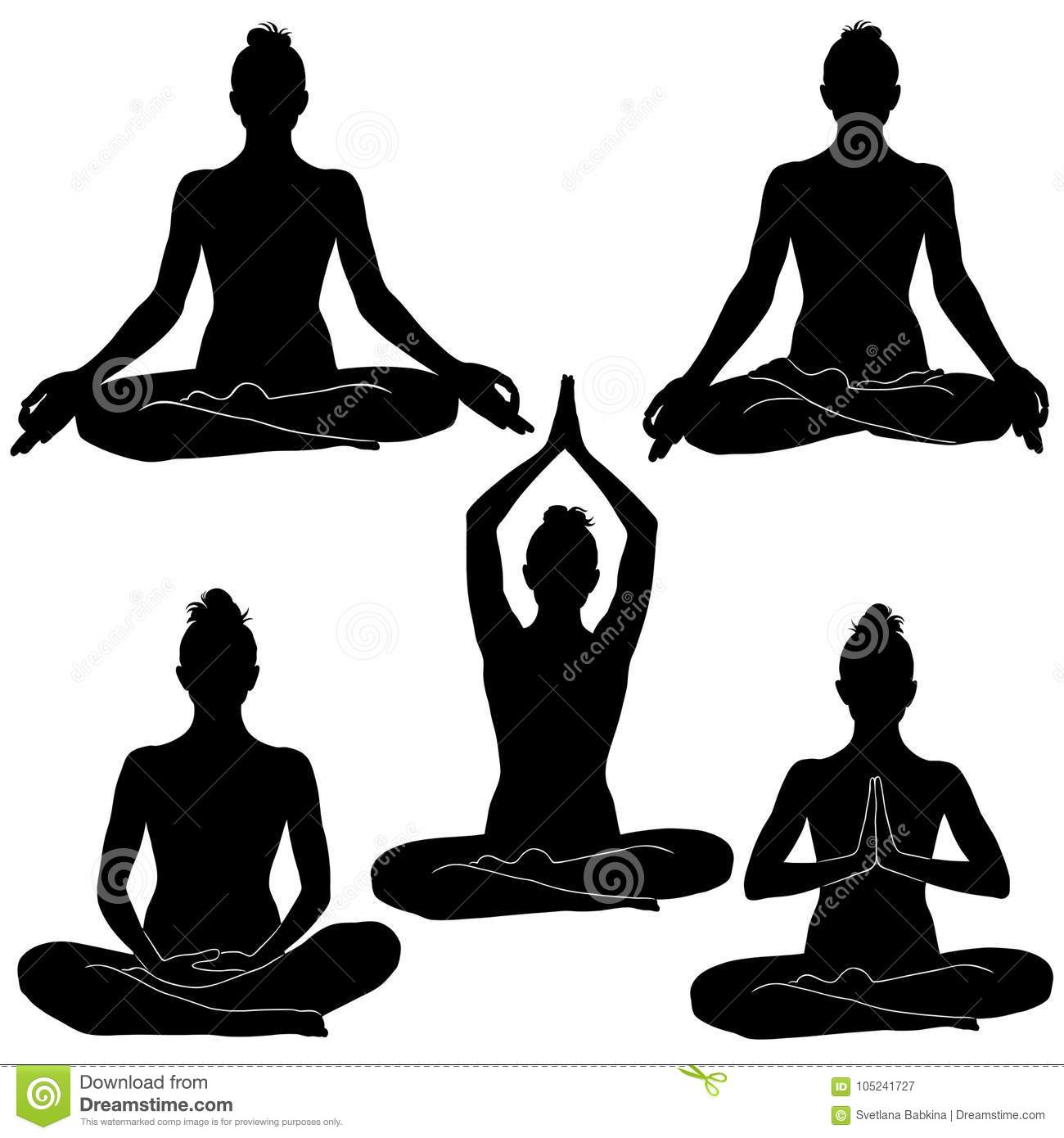 Silhouettes Of Woman Sitting With Legs Crossed In Different Positions Yoga Pose For Relaxation And Meditation