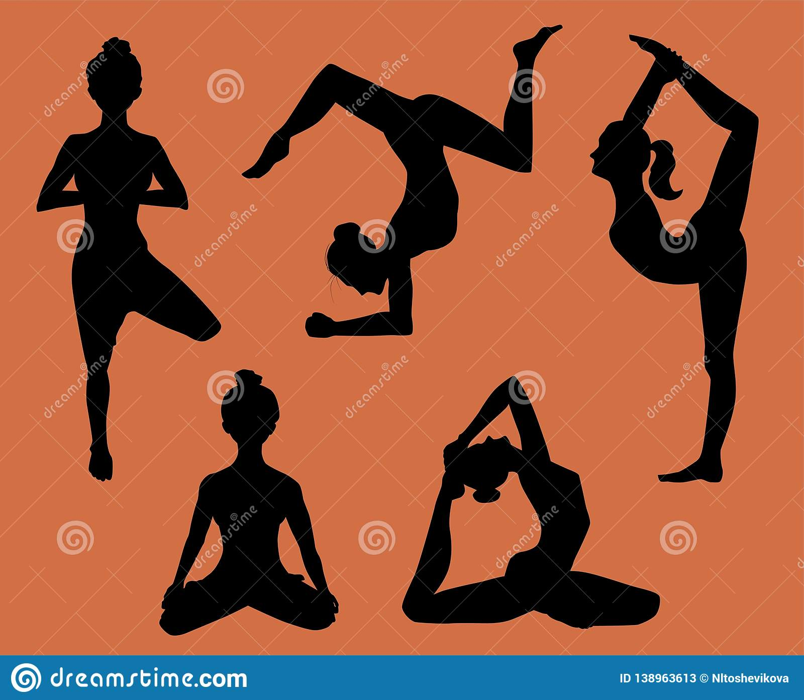 Silhouettes of women doing yoga, illustration