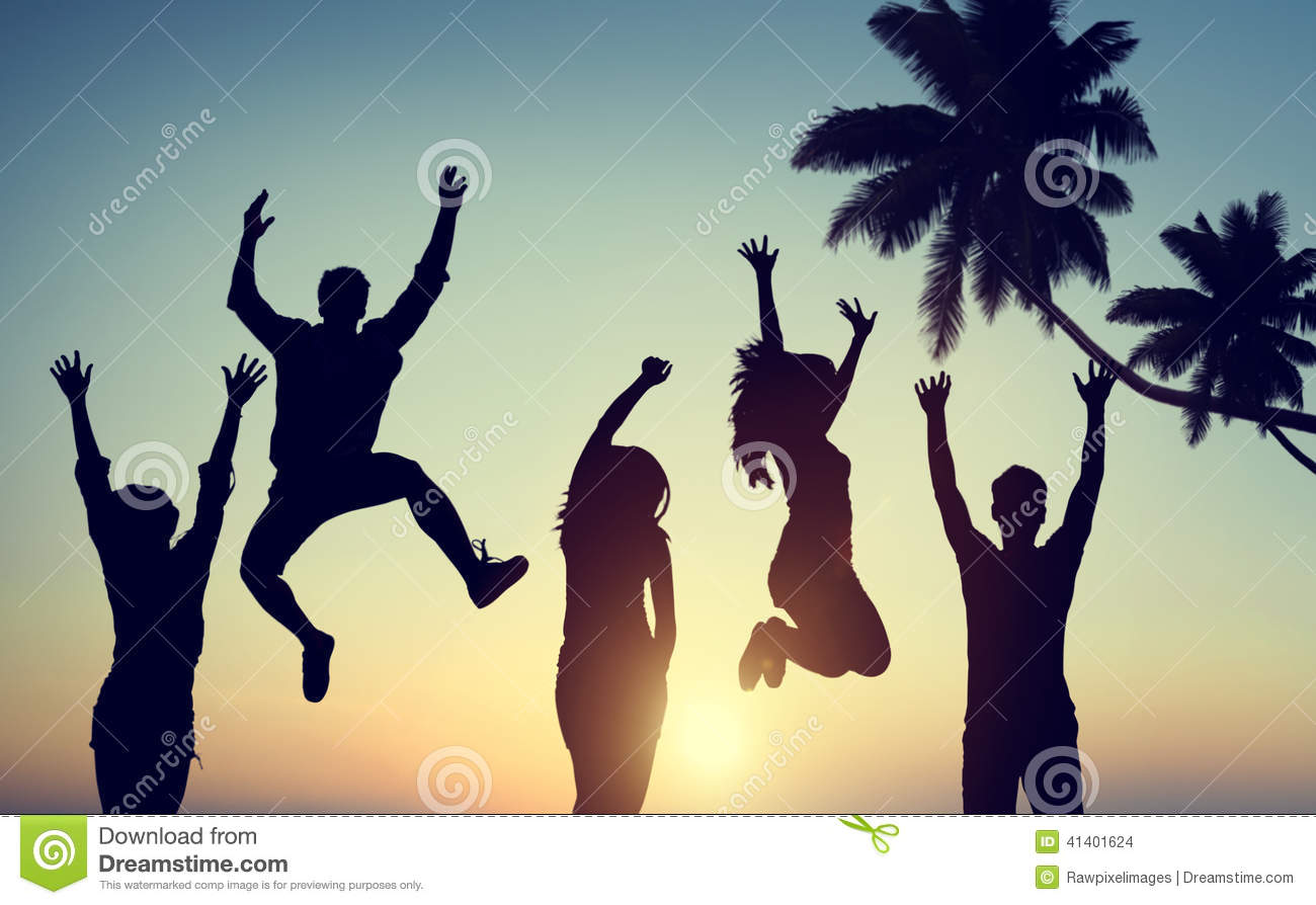 Silhouettes Of Young People Jumping With Excitement Stock ...