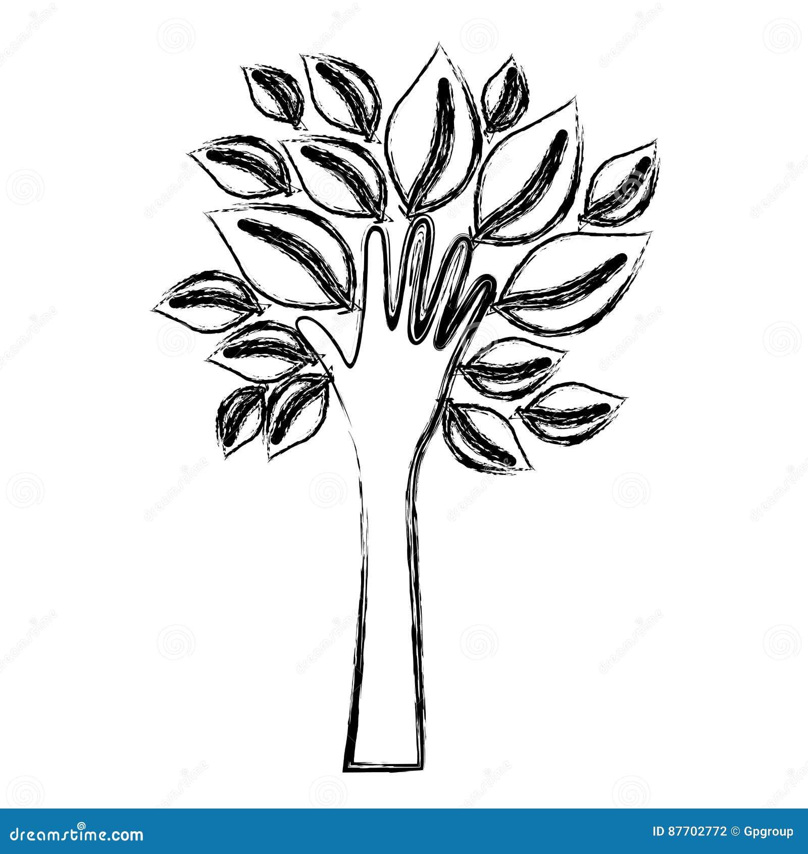 Silhouettez la paume brouillée avec le tronc dans l icône de forme de mains