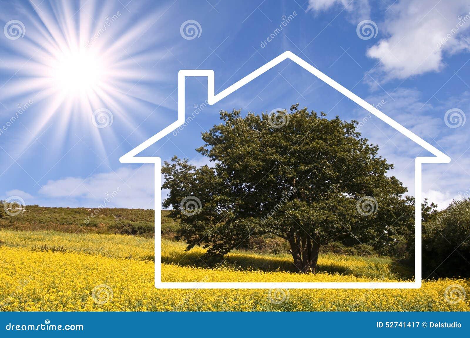 Silhouettez le cadre d 39 une maison paysage de campagne for Enlever l humidite d une maison