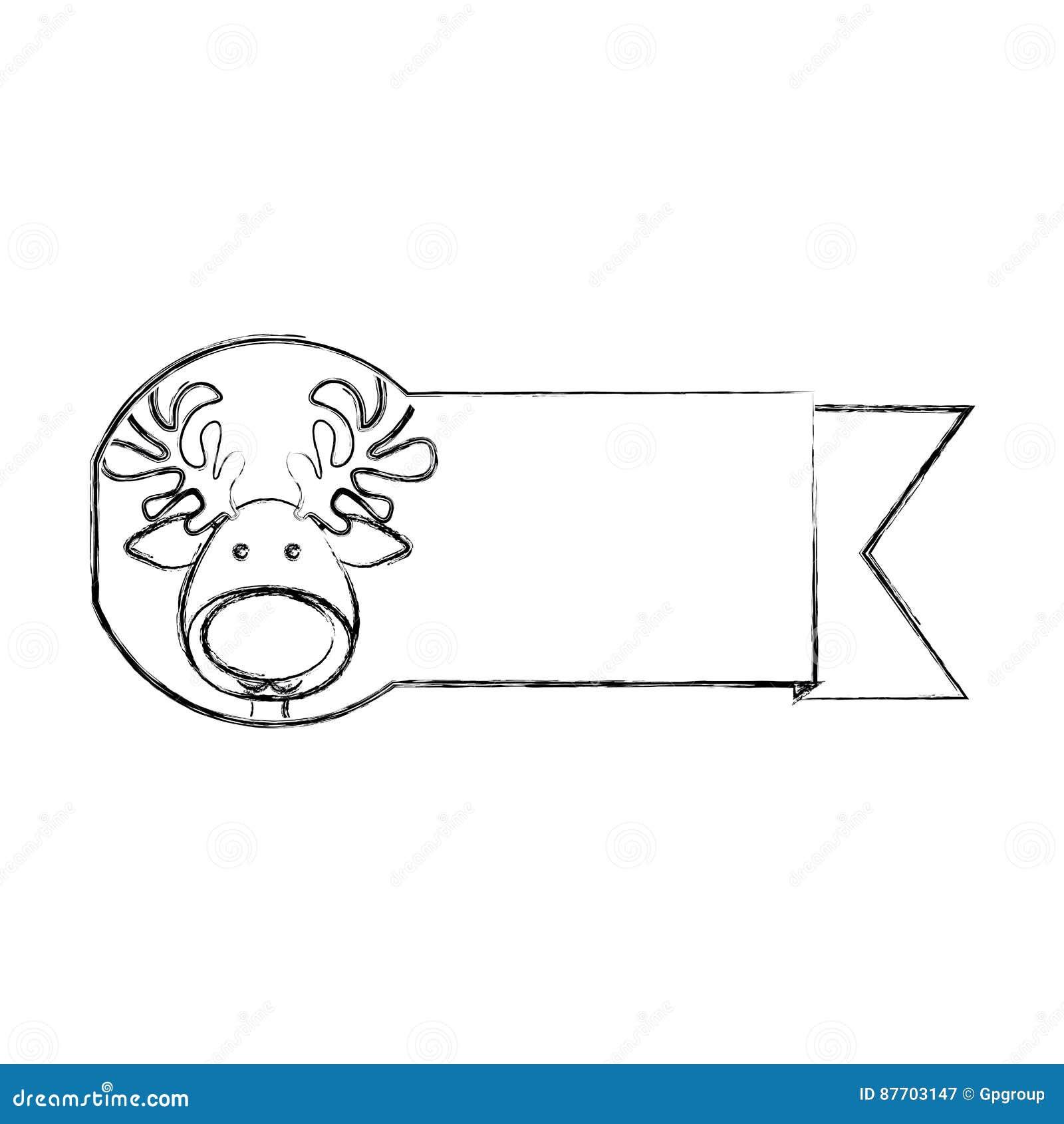 Silhouettez le ruban brouillé avec l animal de Noël de renne de visage
