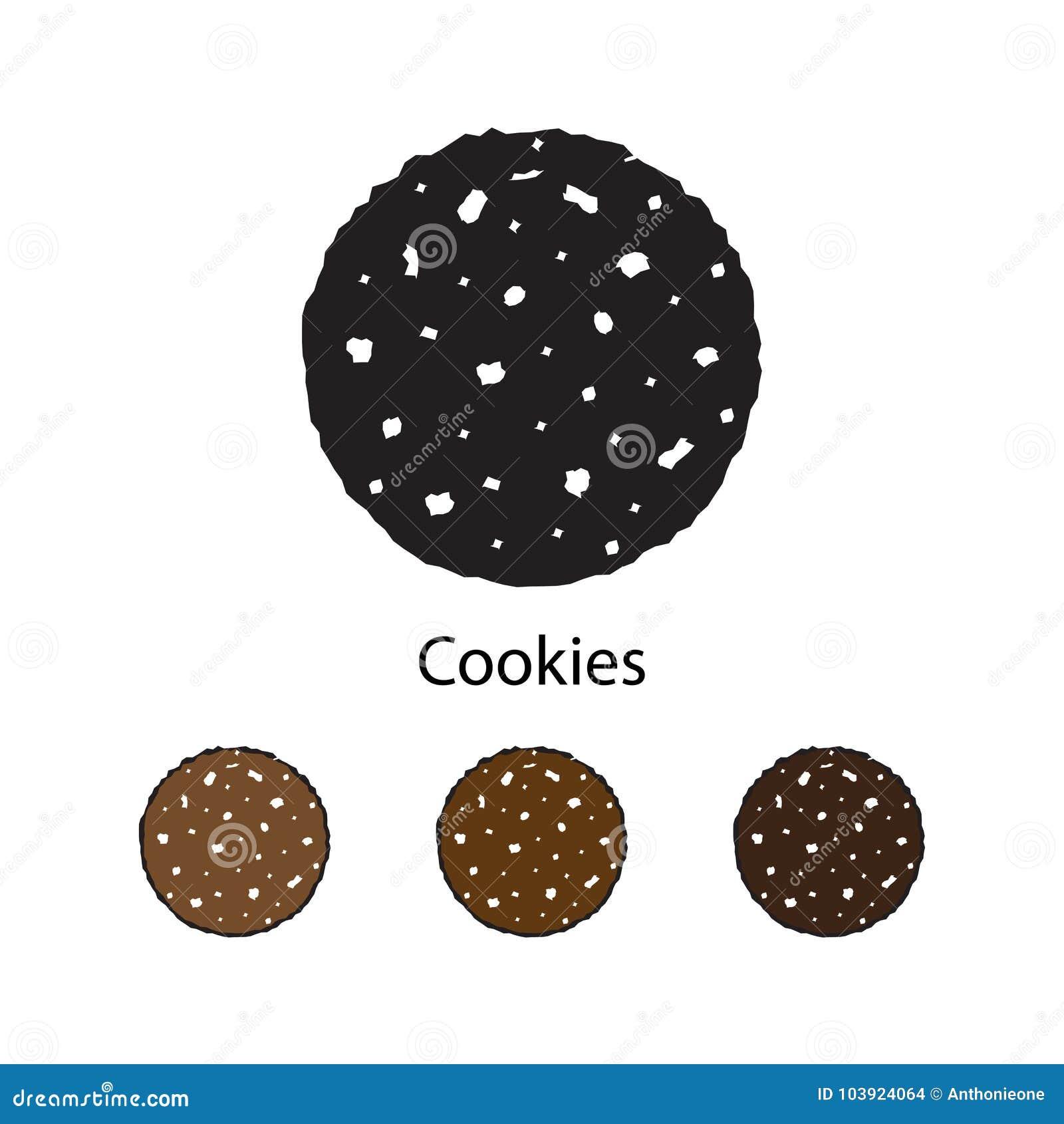 Silhouettez les biscuits avec l illustration de chocolat sur le fond blanc
