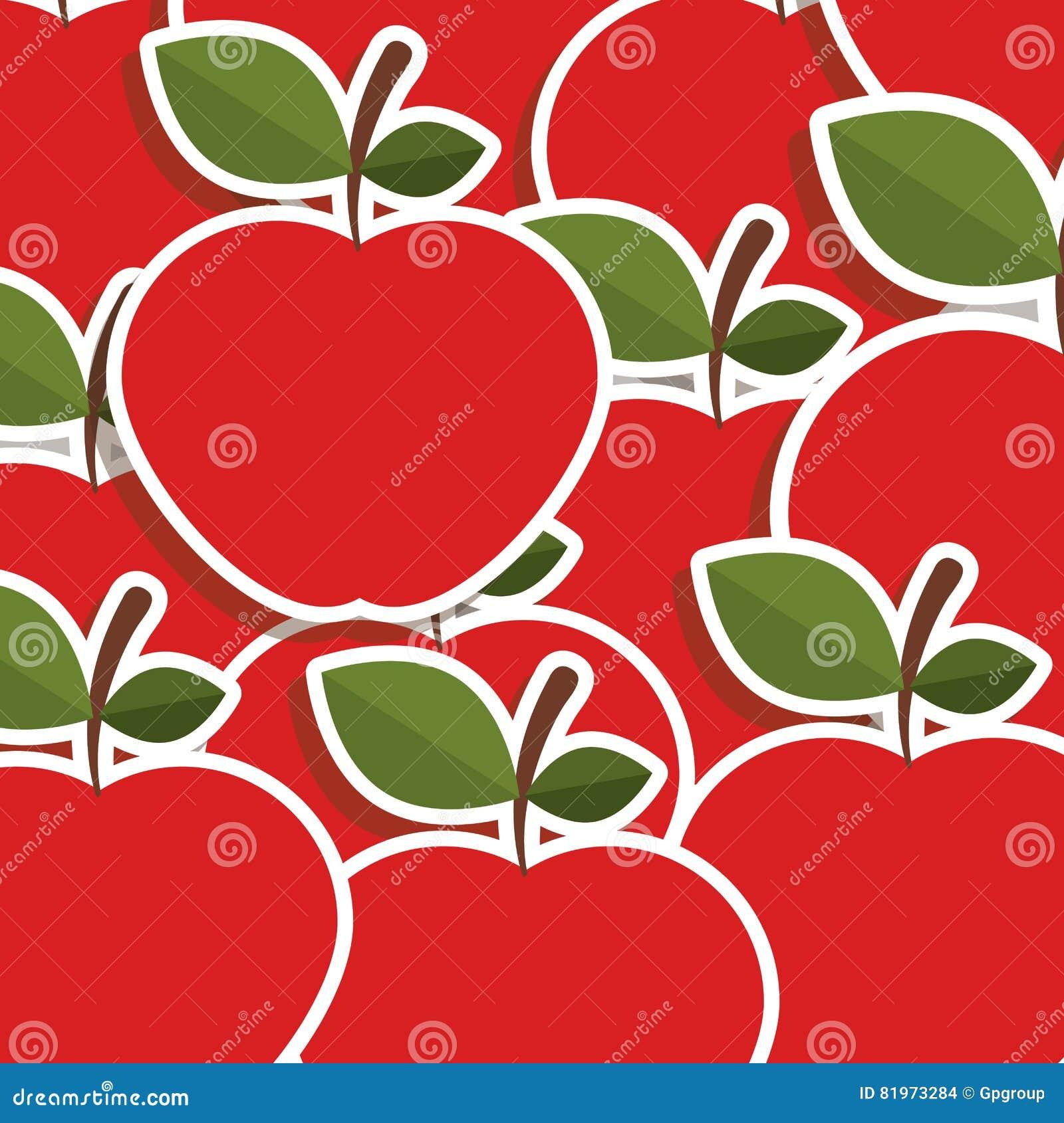 Silhouettieren Sie buntes Muster von Äpfeln mit Stamm und Blättern