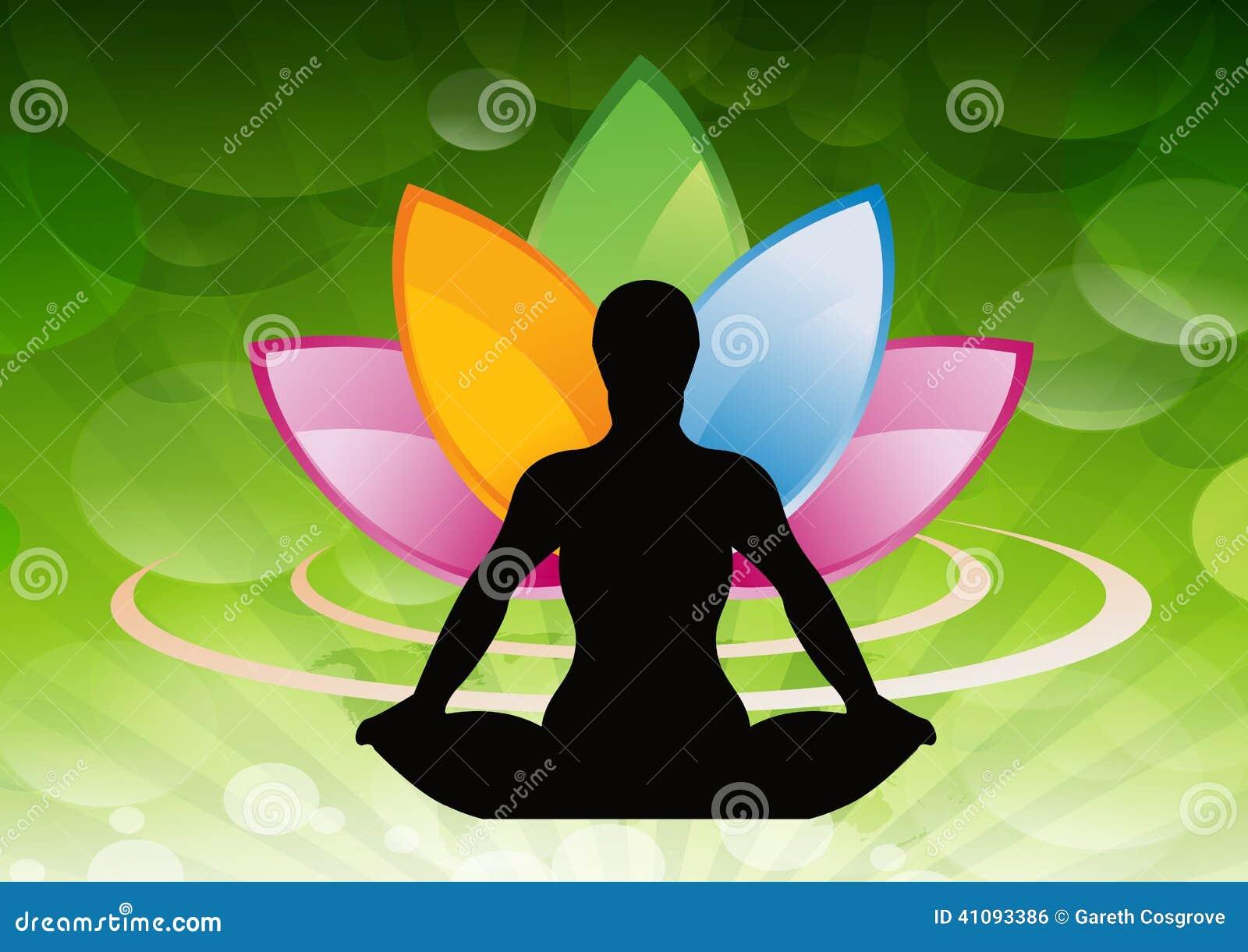 Silhouettierte meditierende Person