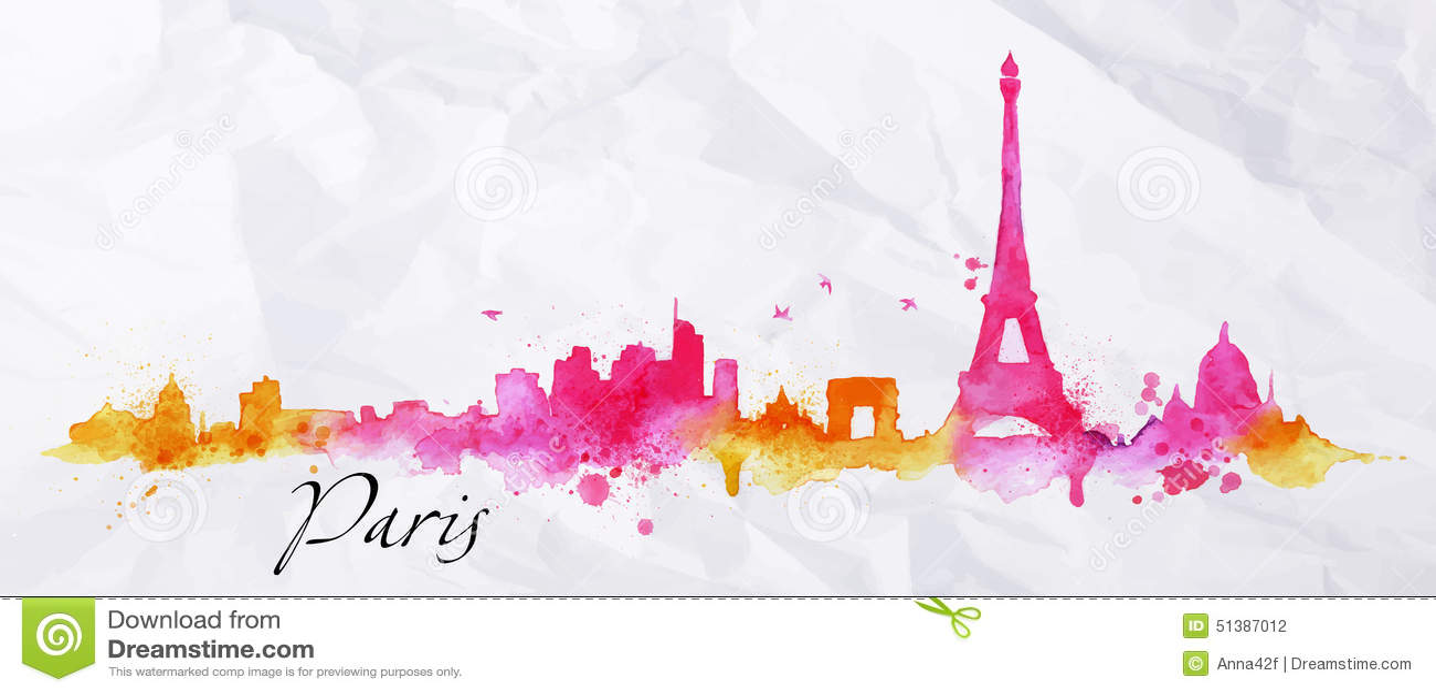Silhouetwaterverf Parijs