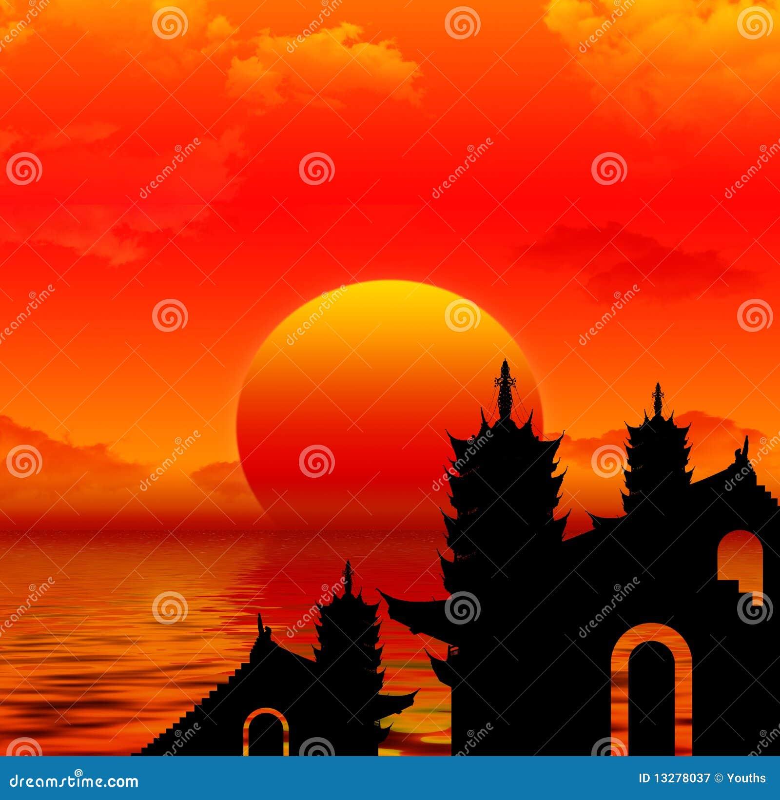 Silhoutte de coucher du soleil de pagoda