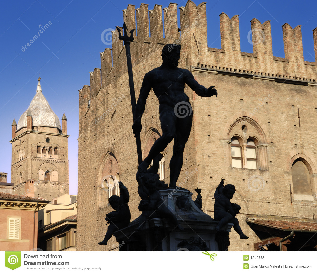 Silhoutte of the Statue of Neptune, Bologna.