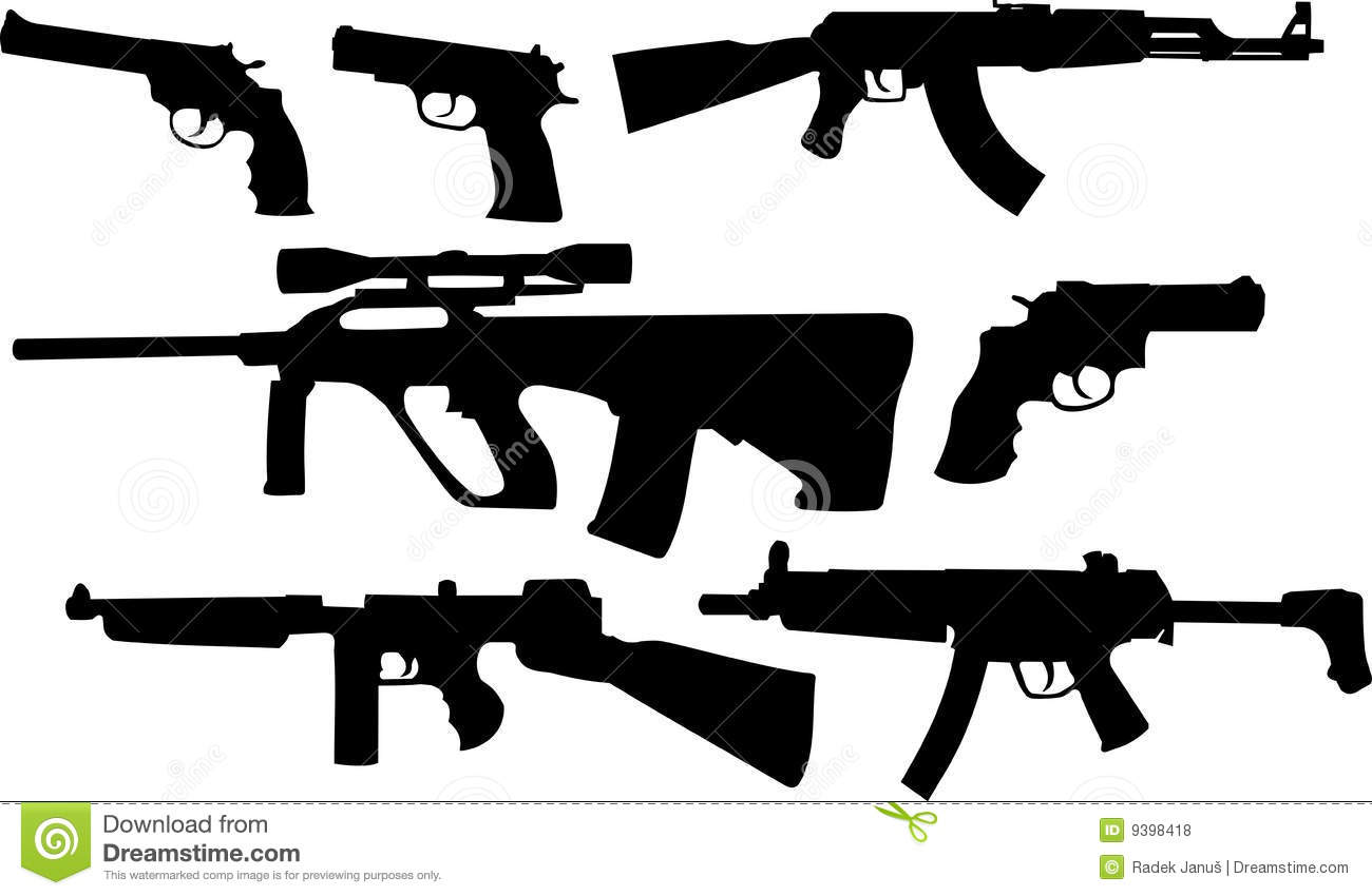 Silhouttes of weapons
