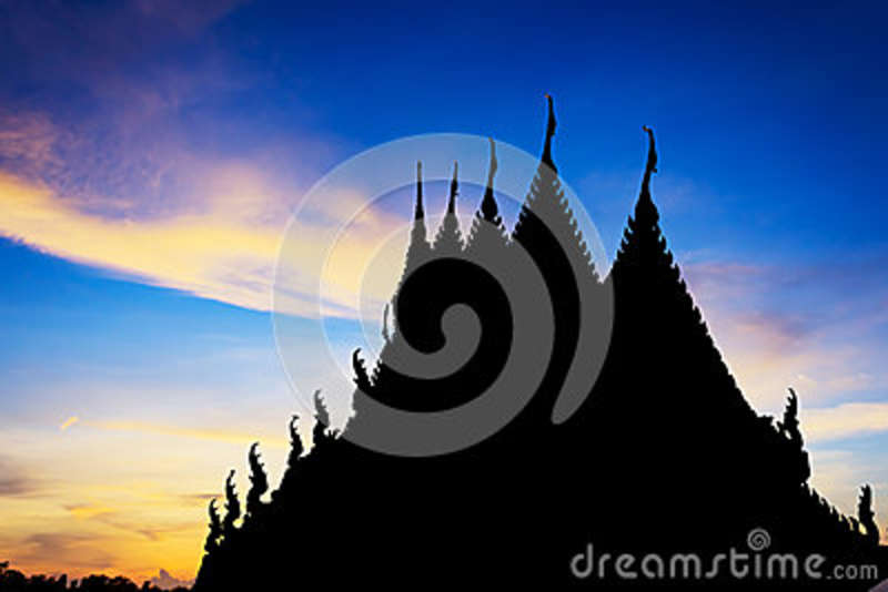 Silhuet temple with beautiful sky