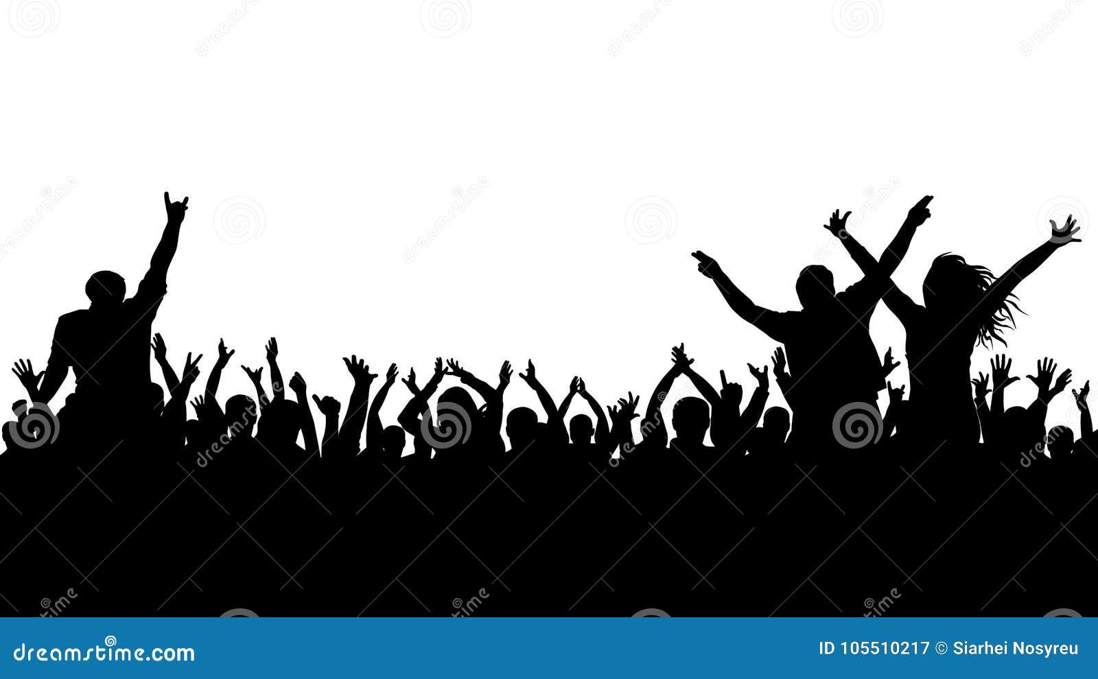Silhueta alegre da multidão Os povos do partido, aplaudem Concerto da dança de fãs, disco