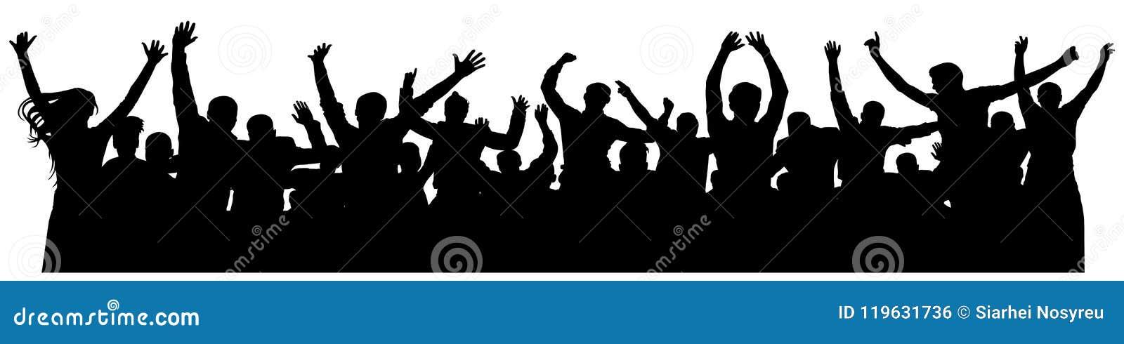 Silhueta alegre dos povos da multidão Multidão alegre Grupo feliz de jovens que dançam no partido musical, concerto, disco