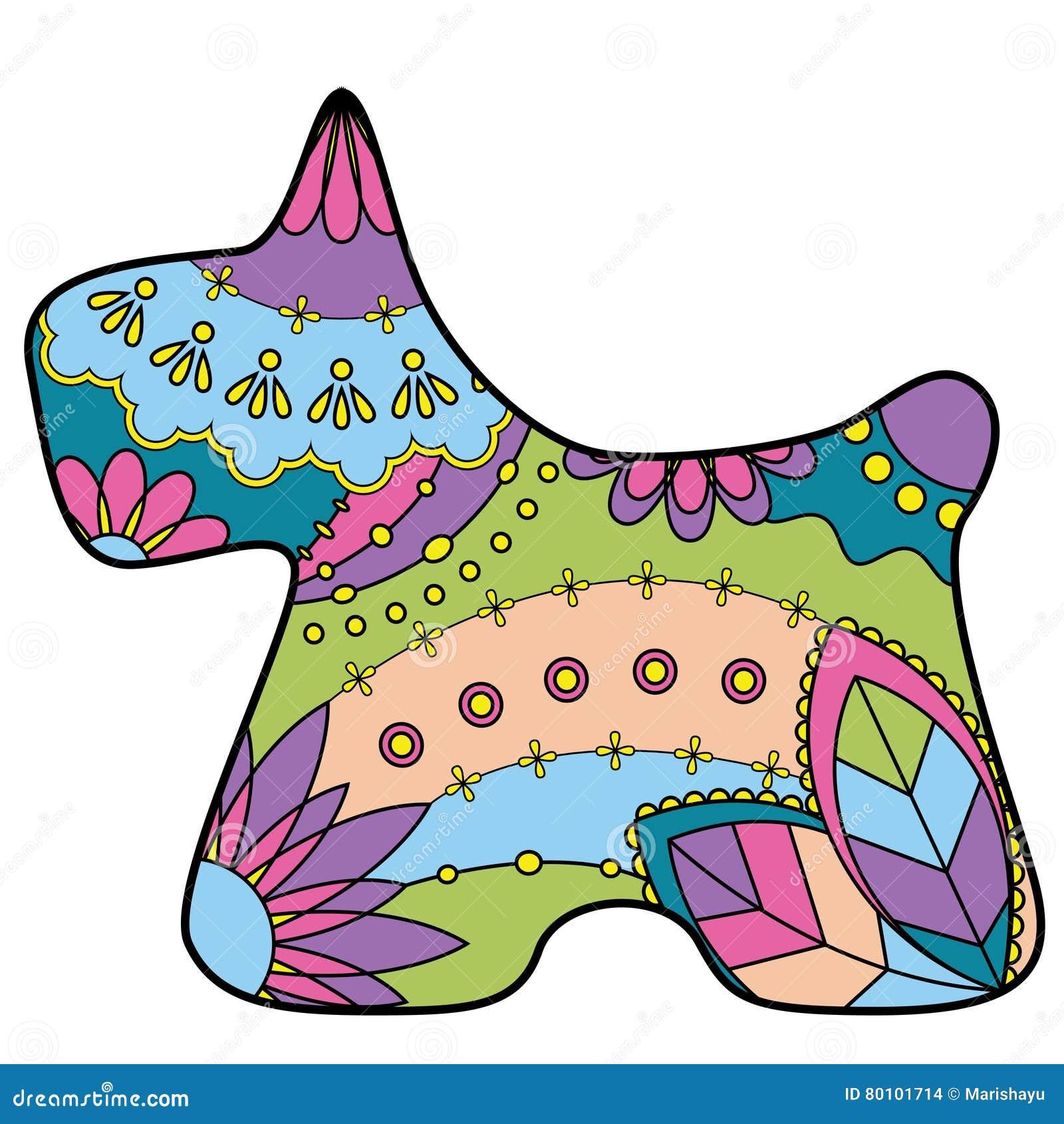 Silhueta colorida do terrier escocês