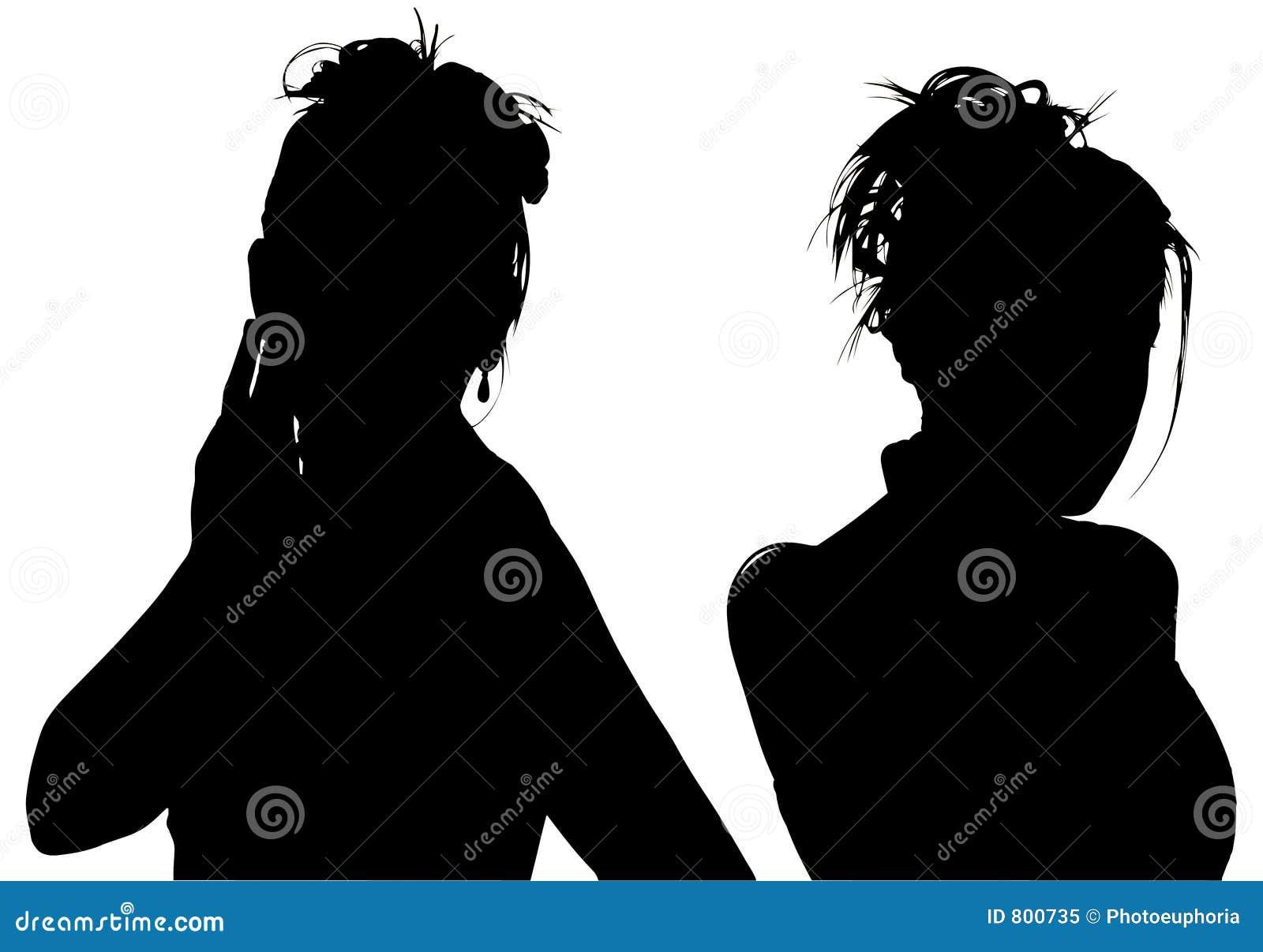 Silhueta com o trajeto de grampeamento de duas mulheres