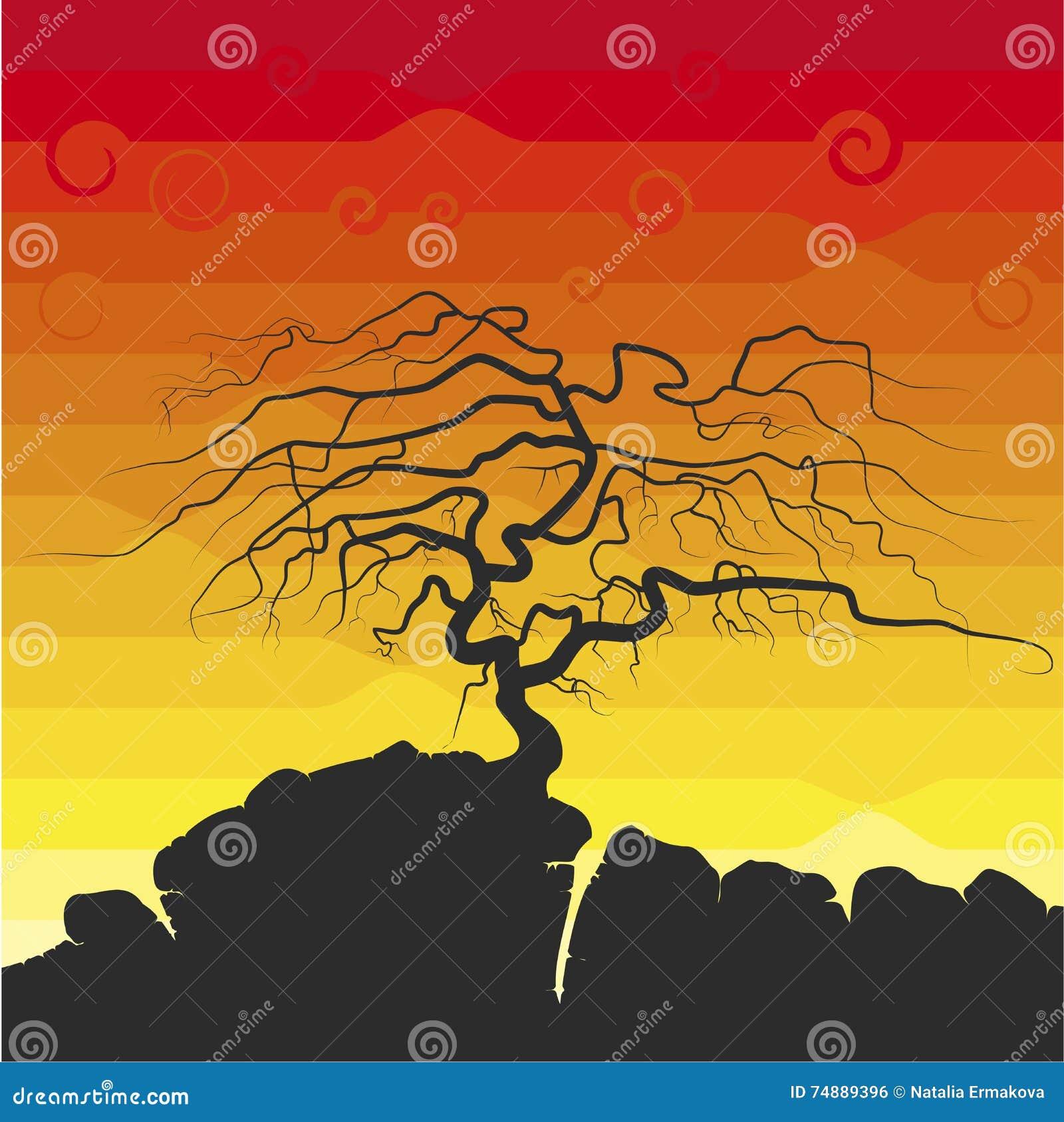A silhueta da árvore