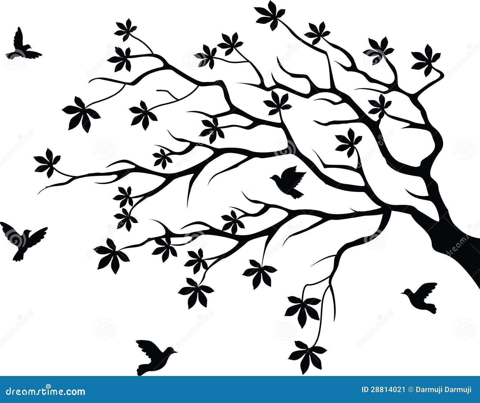 Flower And Butterfly Wall Stickers Silhueta Da 225 Rvore Com V 244 O Do P 225 Ssaro