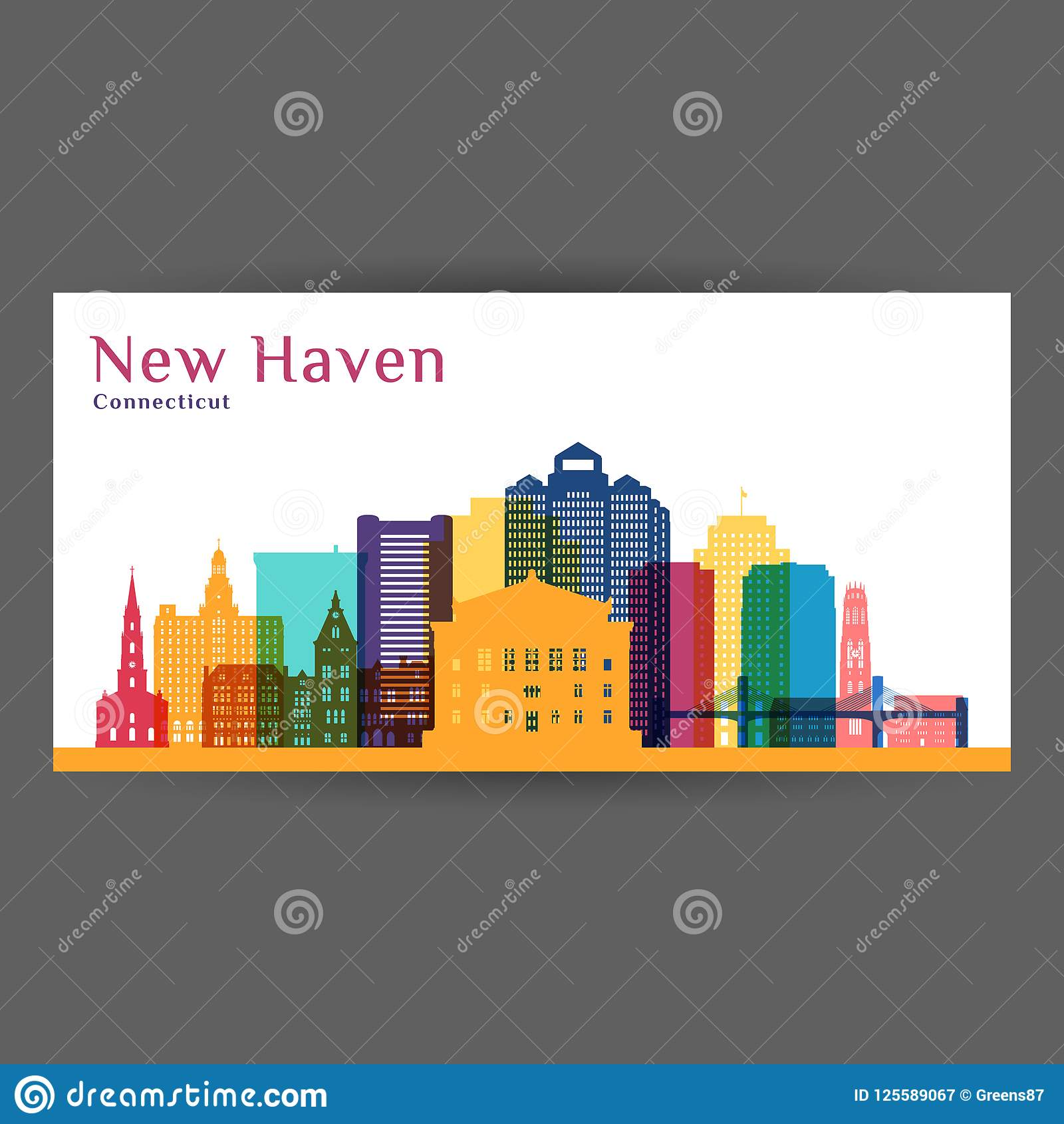 Silhueta da arquitetura da cidade de New Haven Skyline colorida