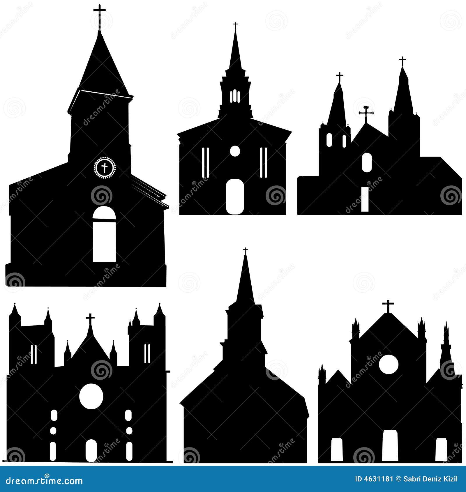 Silhueta da arte do vetor da igreja