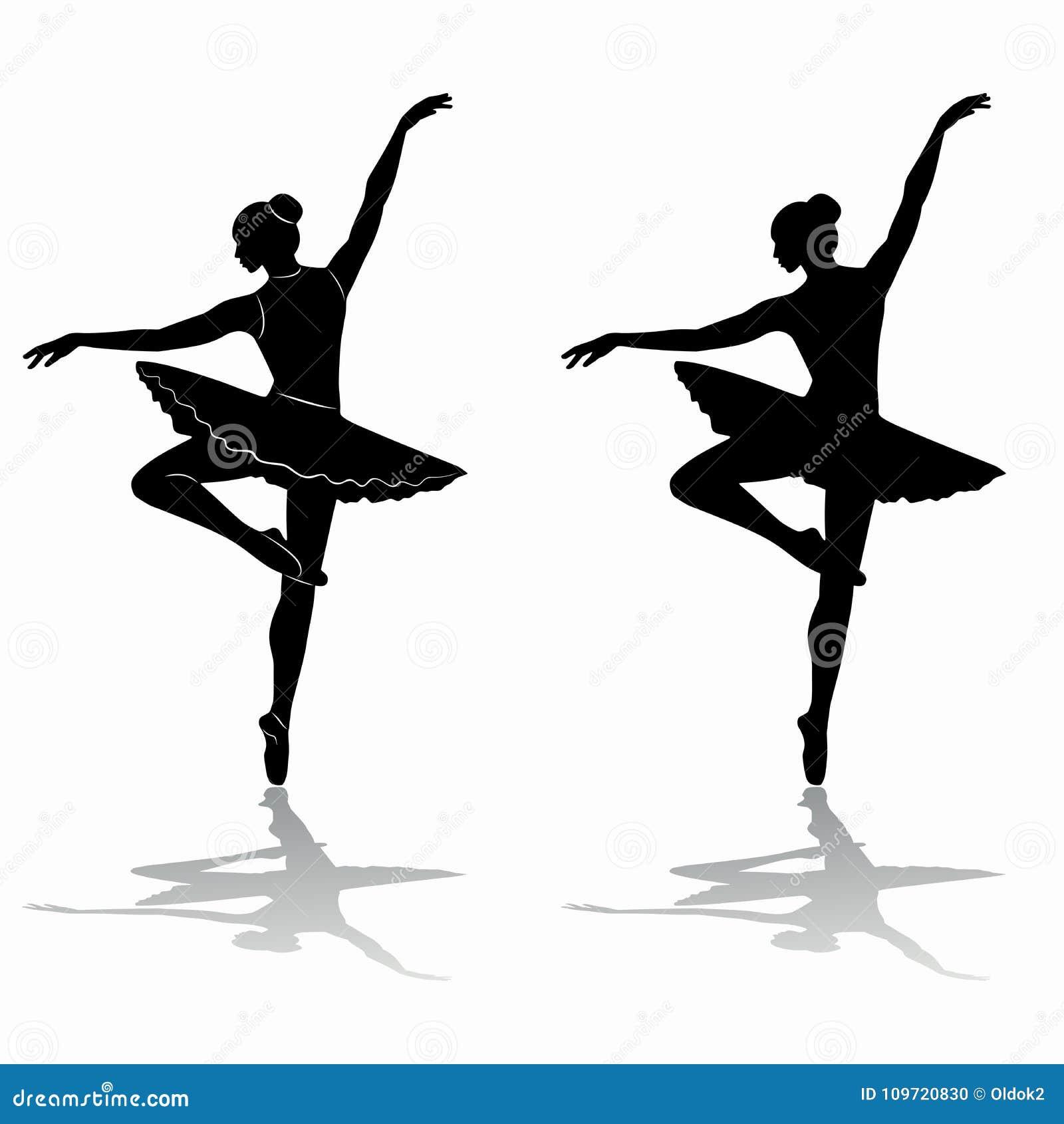 Silhueta Da Bailarina Tracao Do Vetor Ilustracao Do Vetor