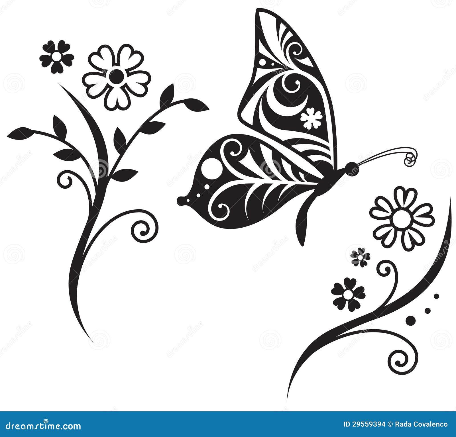Silhueta Da Borboleta E Ramo Da Flor Imagens de Stock - Imagem ... Flower Vine Clipart