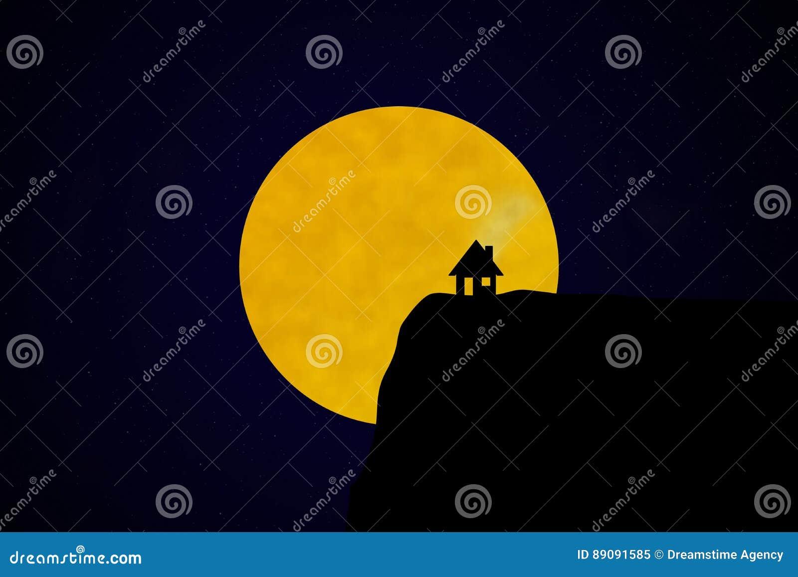 Silhueta da casa na frente do céu noturno estrelado com lua