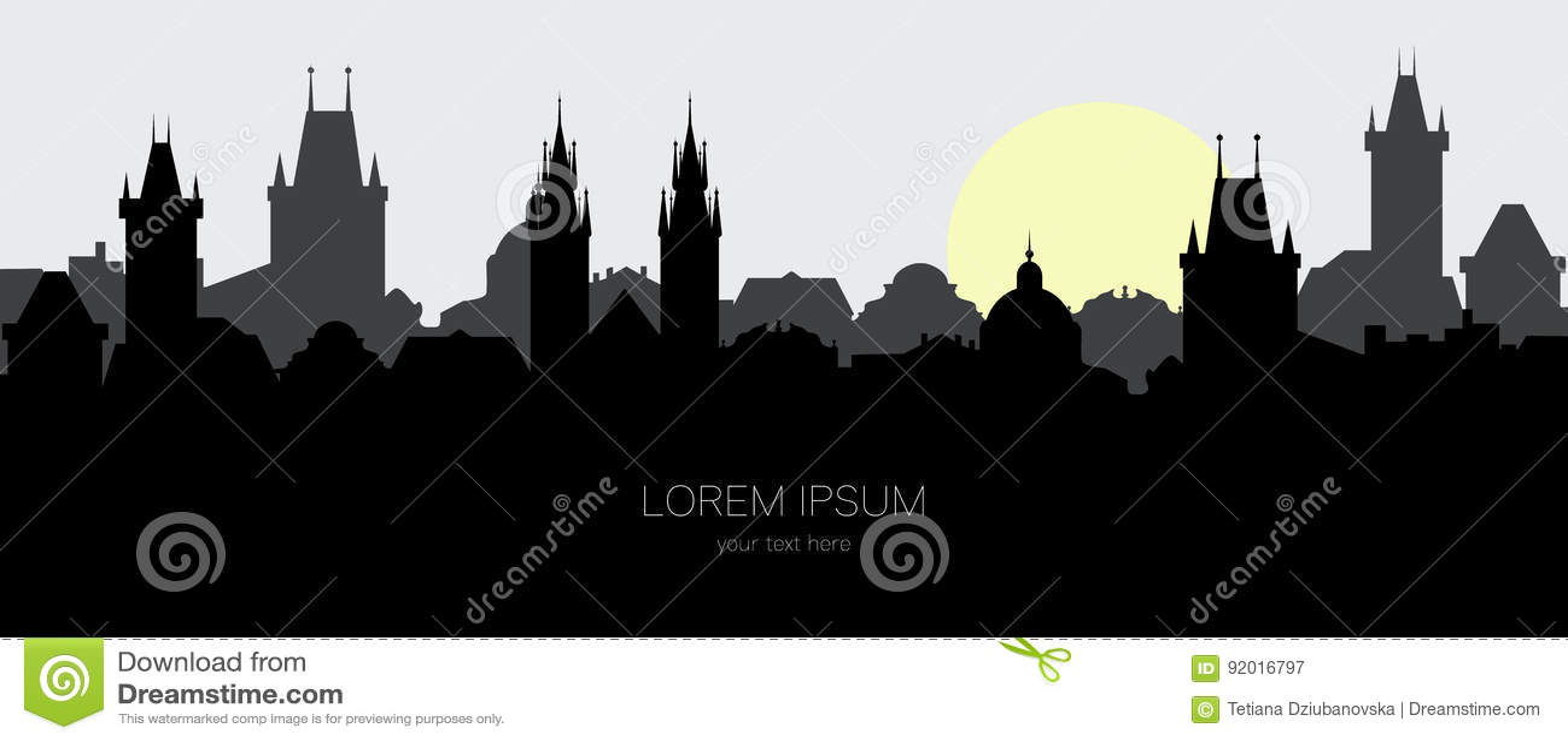 Silhueta da cidade velha de Praga Arquitetura da cidade na cidade europeia no nascer do sol