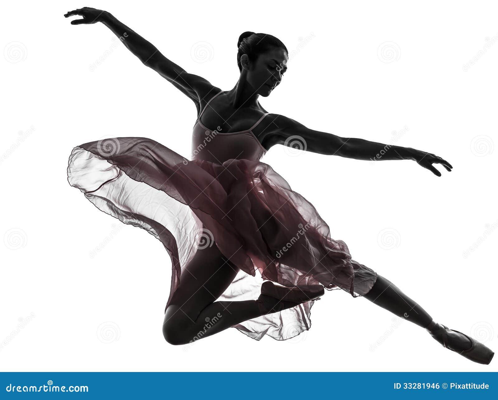 Silhueta da dança do dançarino de bailado da bailarina da mulher