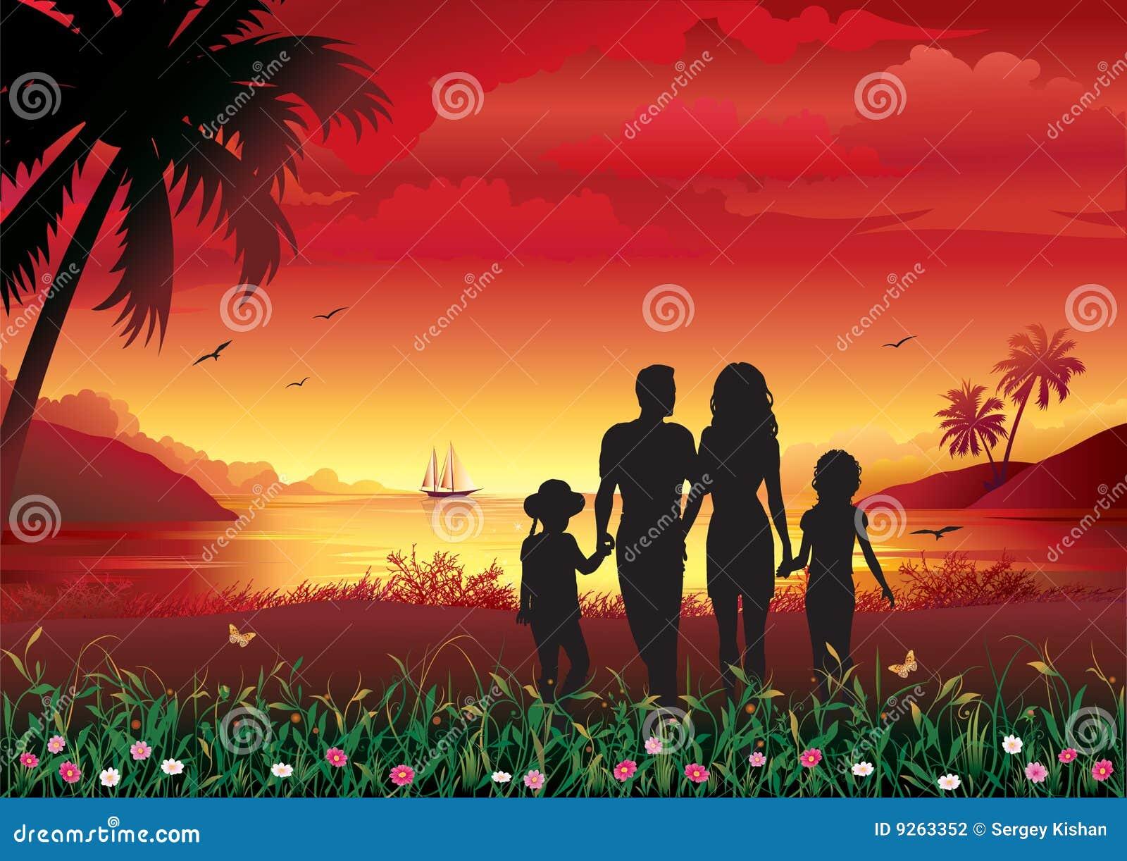 Silhueta da família