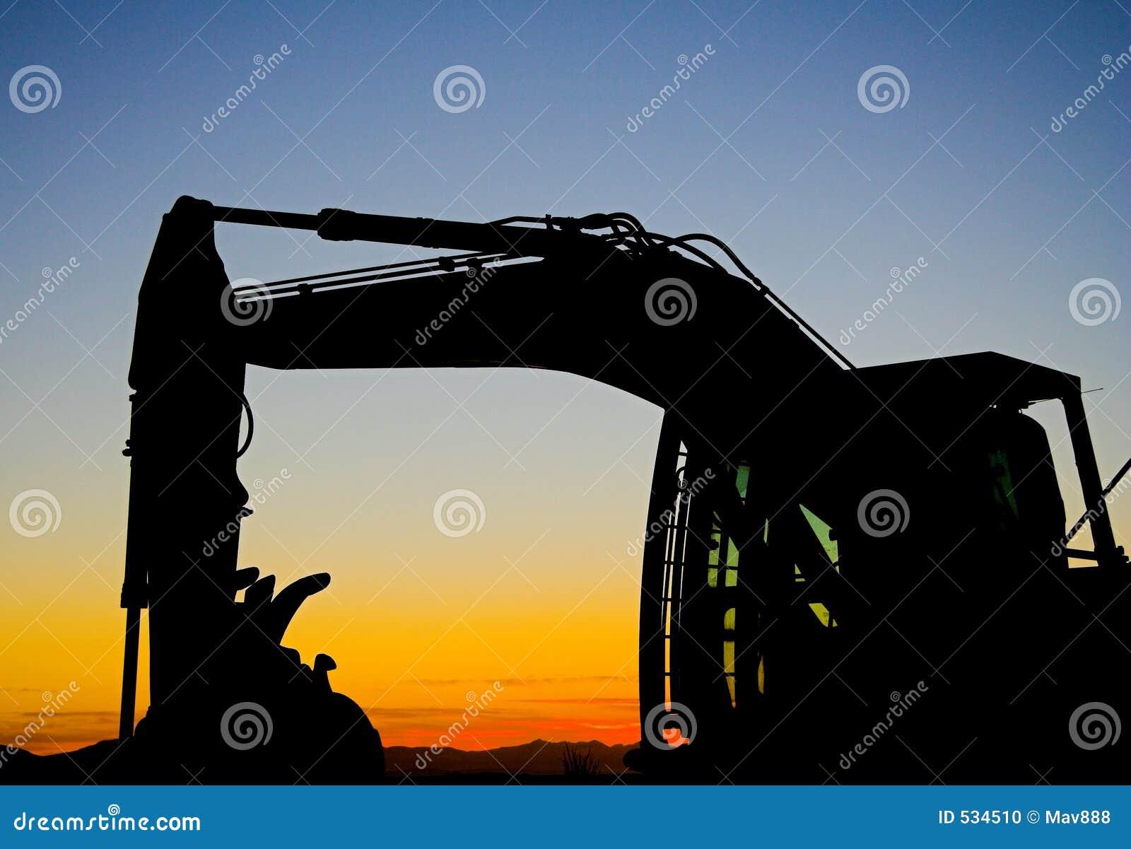 Silhueta da máquina escavadora