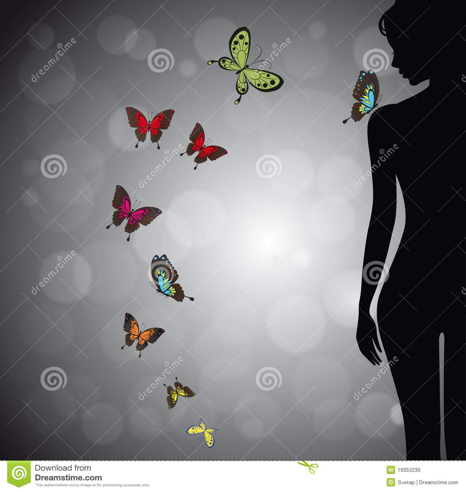 Silhueta da mulher com borboleta colorida