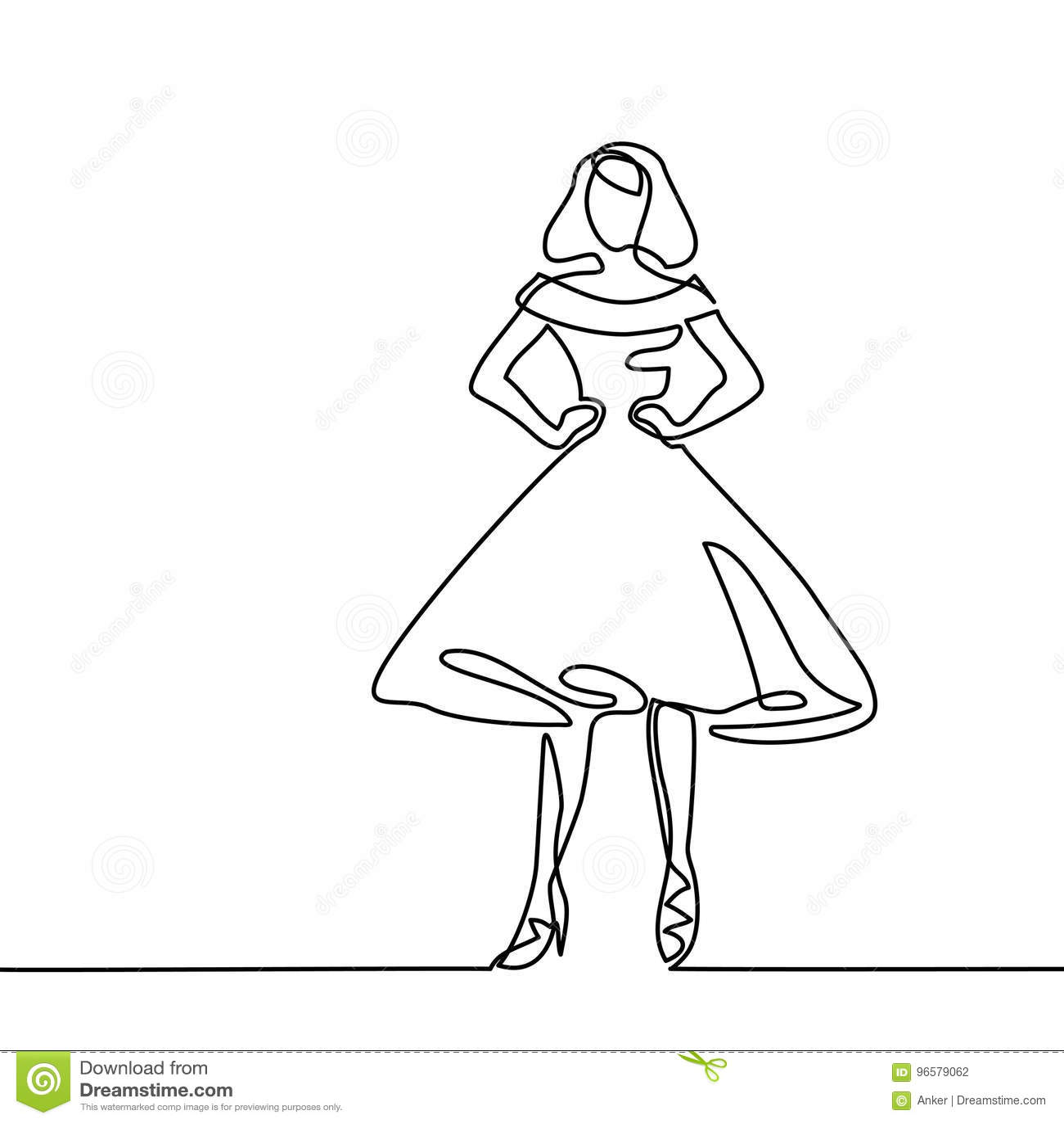 Silhueta Da Mulher Delgada No Vestido De Midi Ilustracao Do Vetor