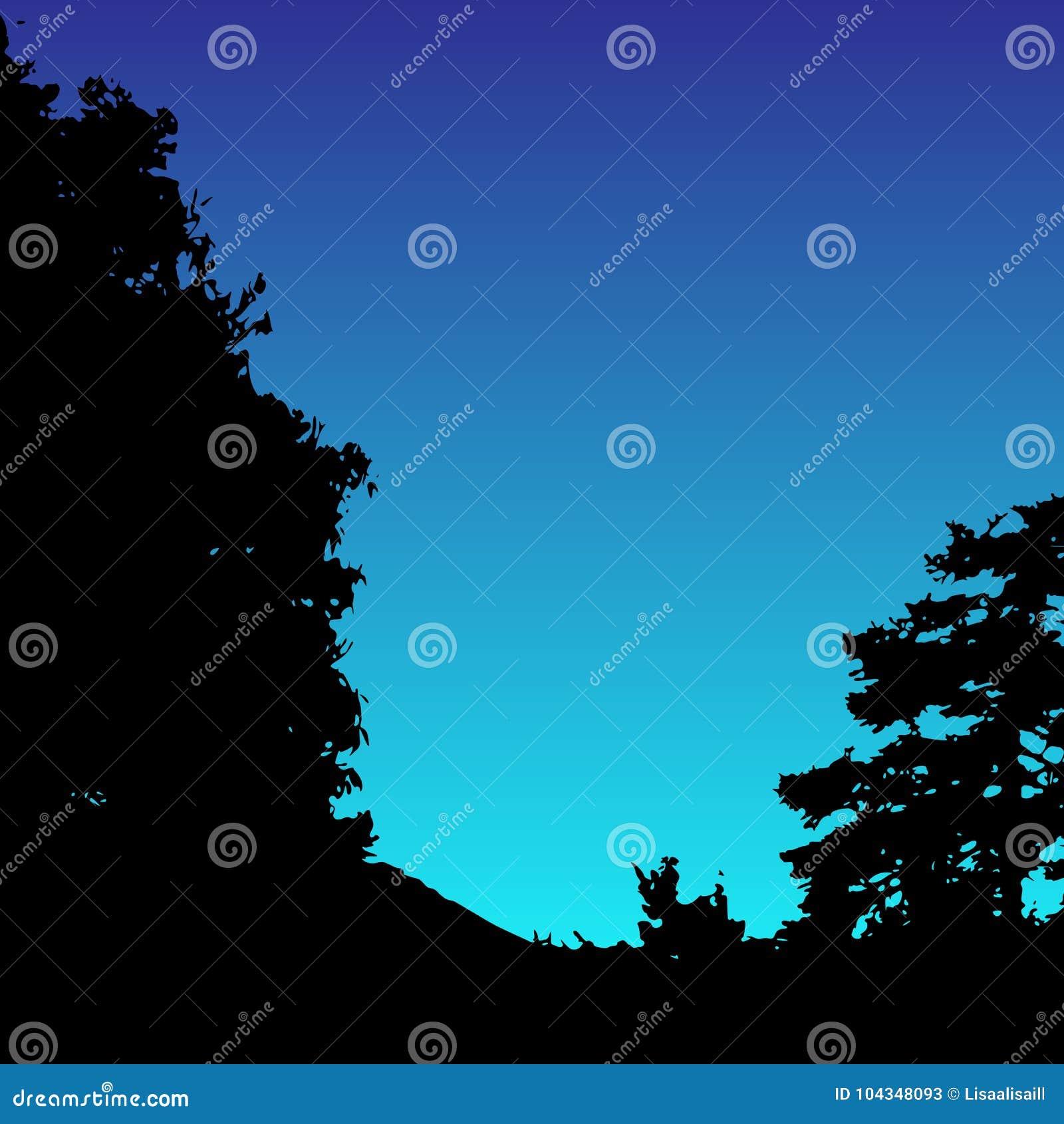 Silhueta da paisagem do vetor Árvores, madeiras, montes e silhuetas realísticos da montanha na noite e no céu da noite outdoor