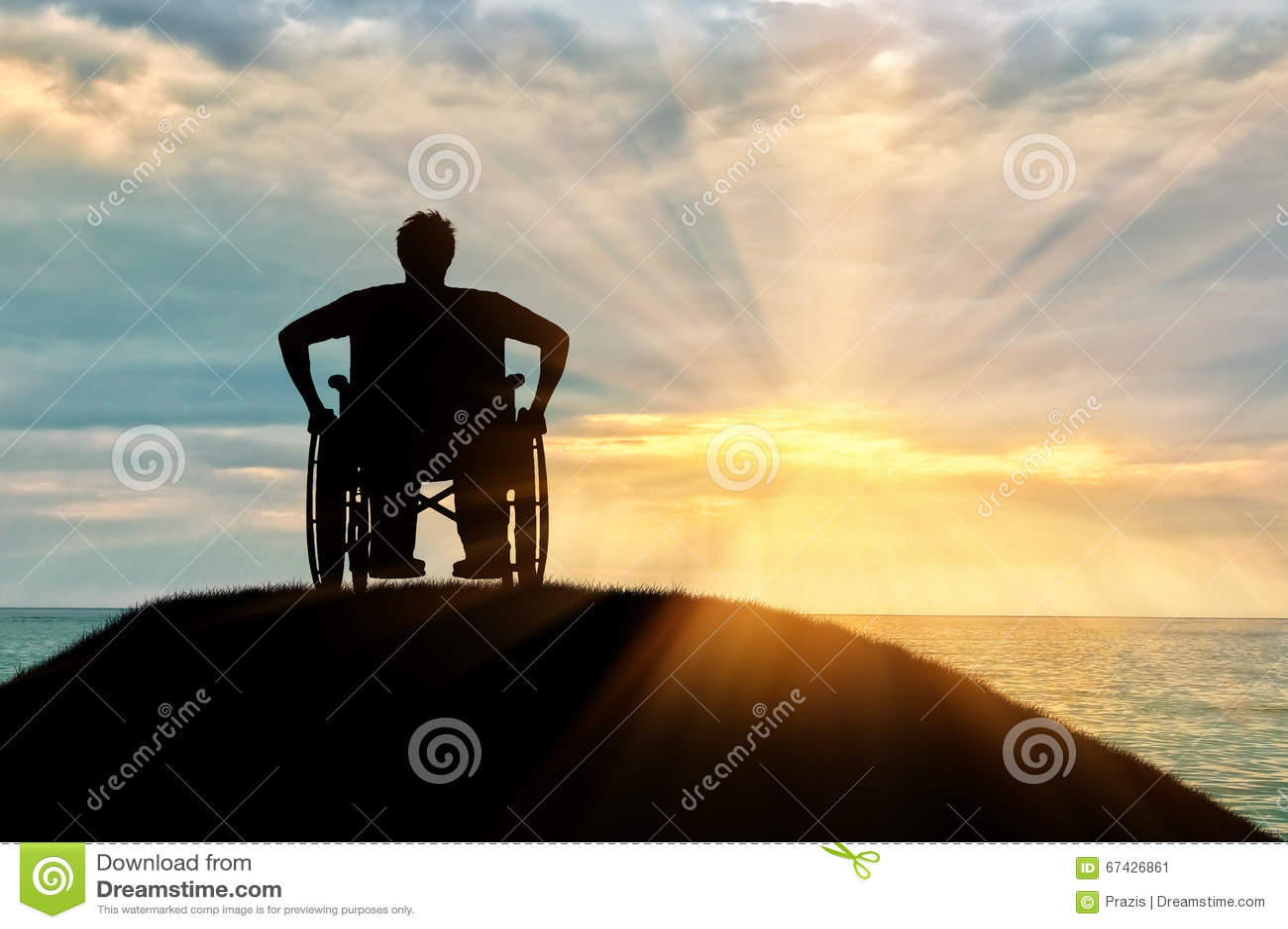 Silhueta da pessoa deficiente em uma cadeira de rodas