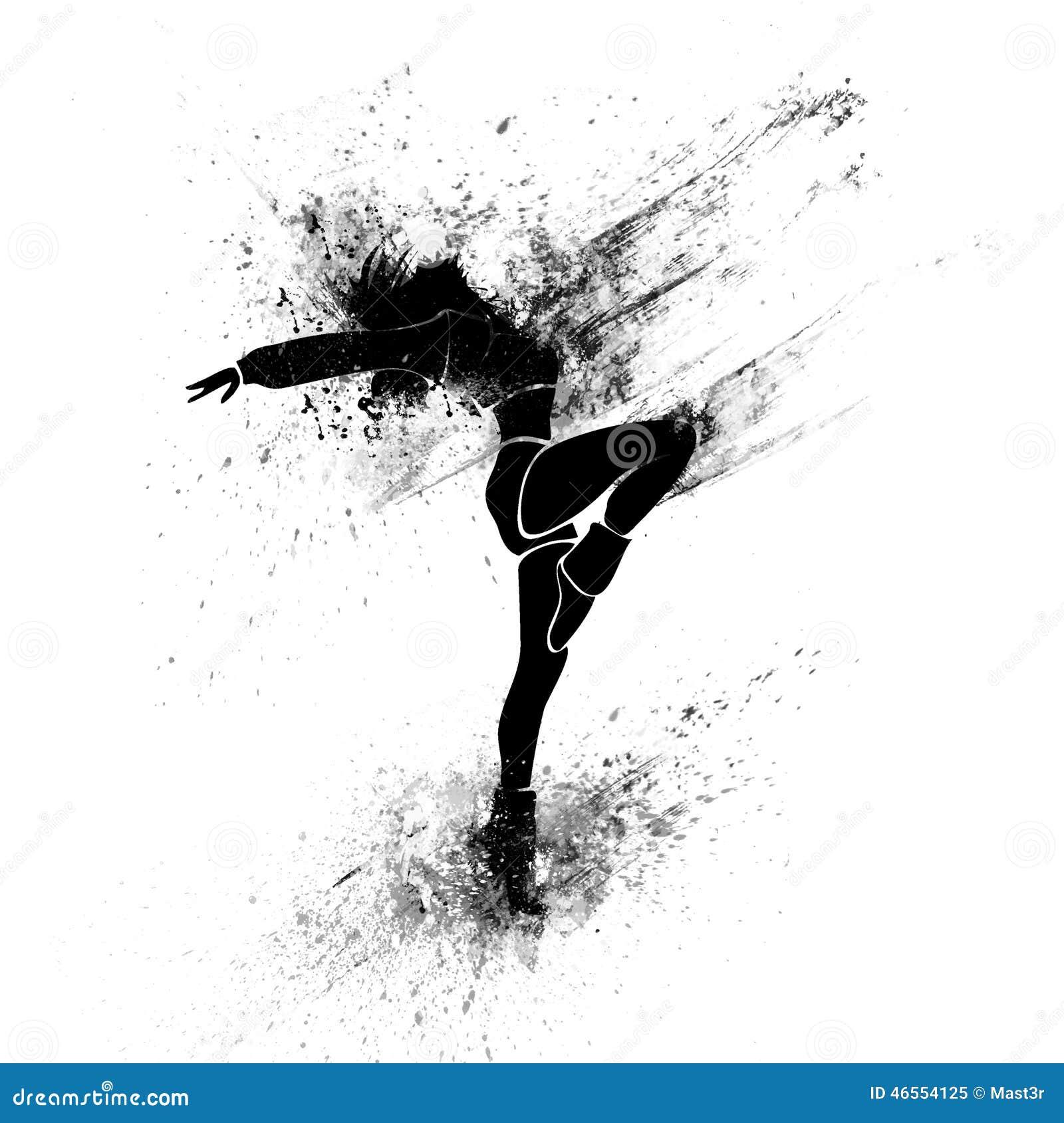 Silhueta da pintura do respingo do preto da menina de dança